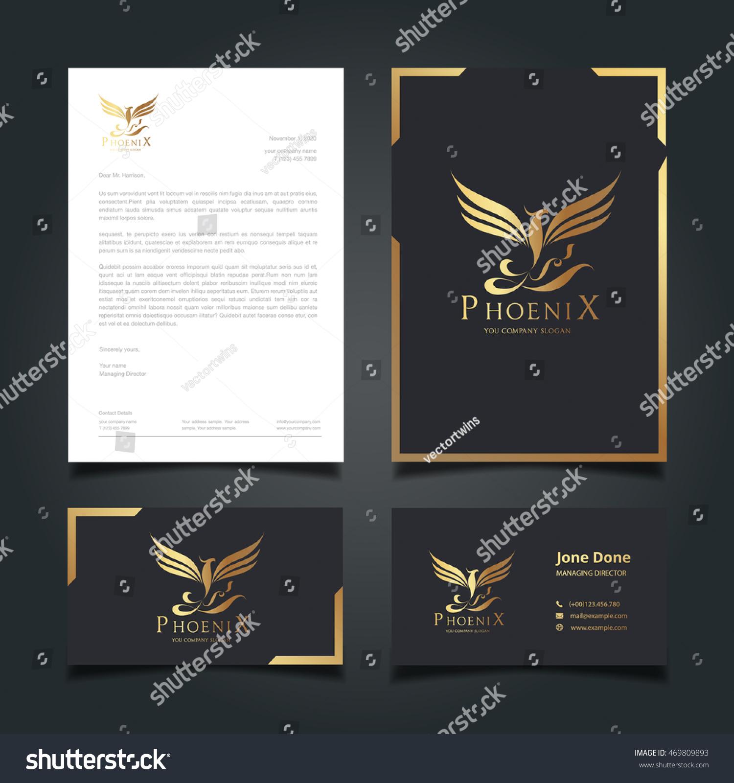 Stationery Template Phoenix Logo Business Cards Stock Photo (Photo ...