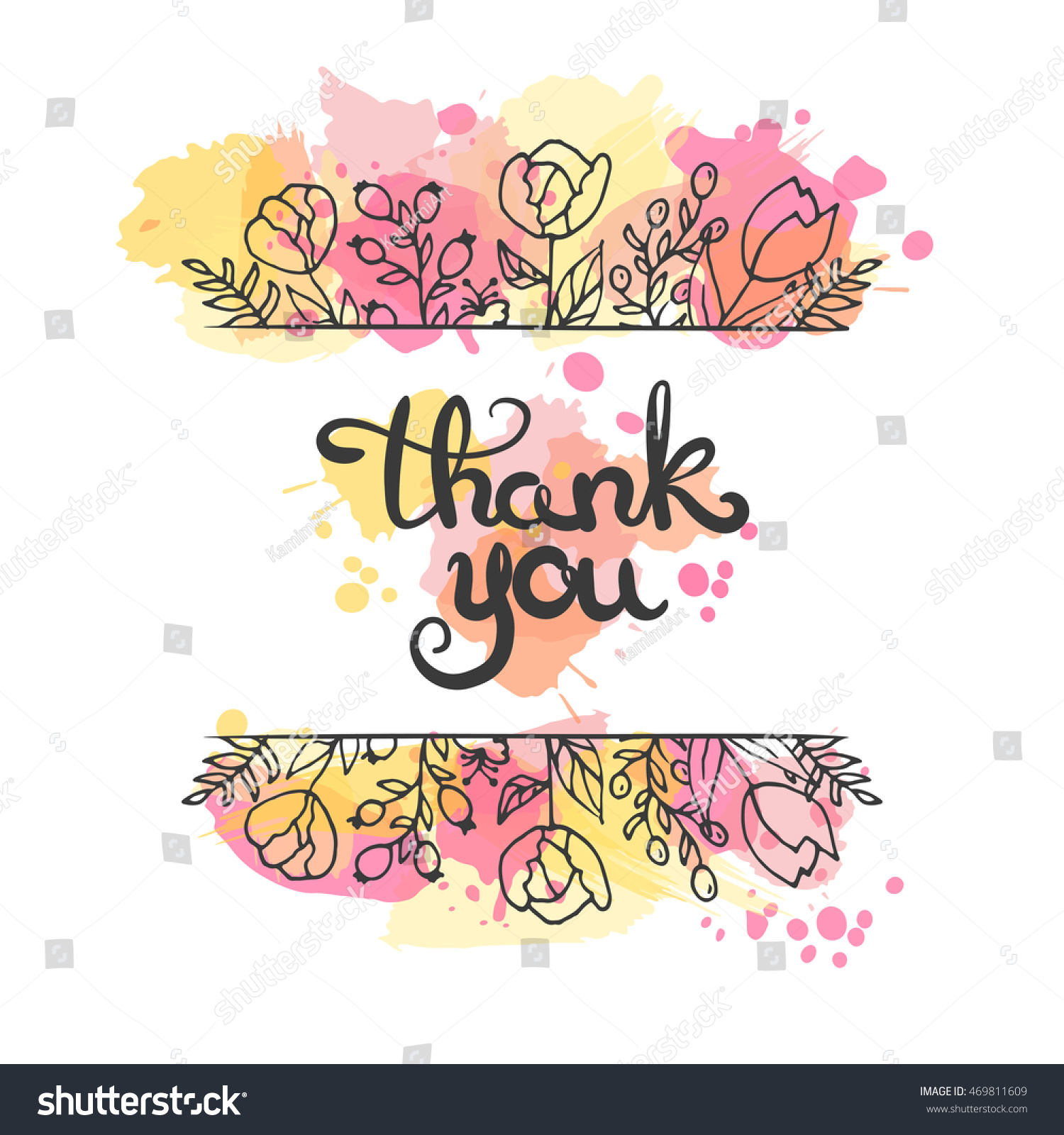 Thank You Card Hand Drawn Lettering Stock Vector 469811609