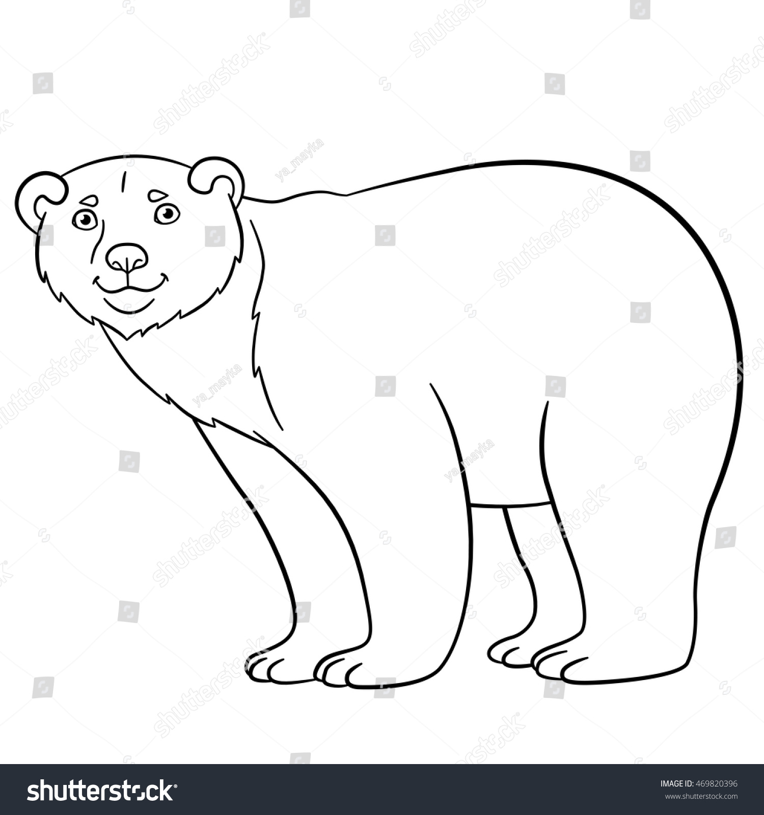 Coloring Pages Cute Polar Bear Stands Stock Vector 469820396 ...