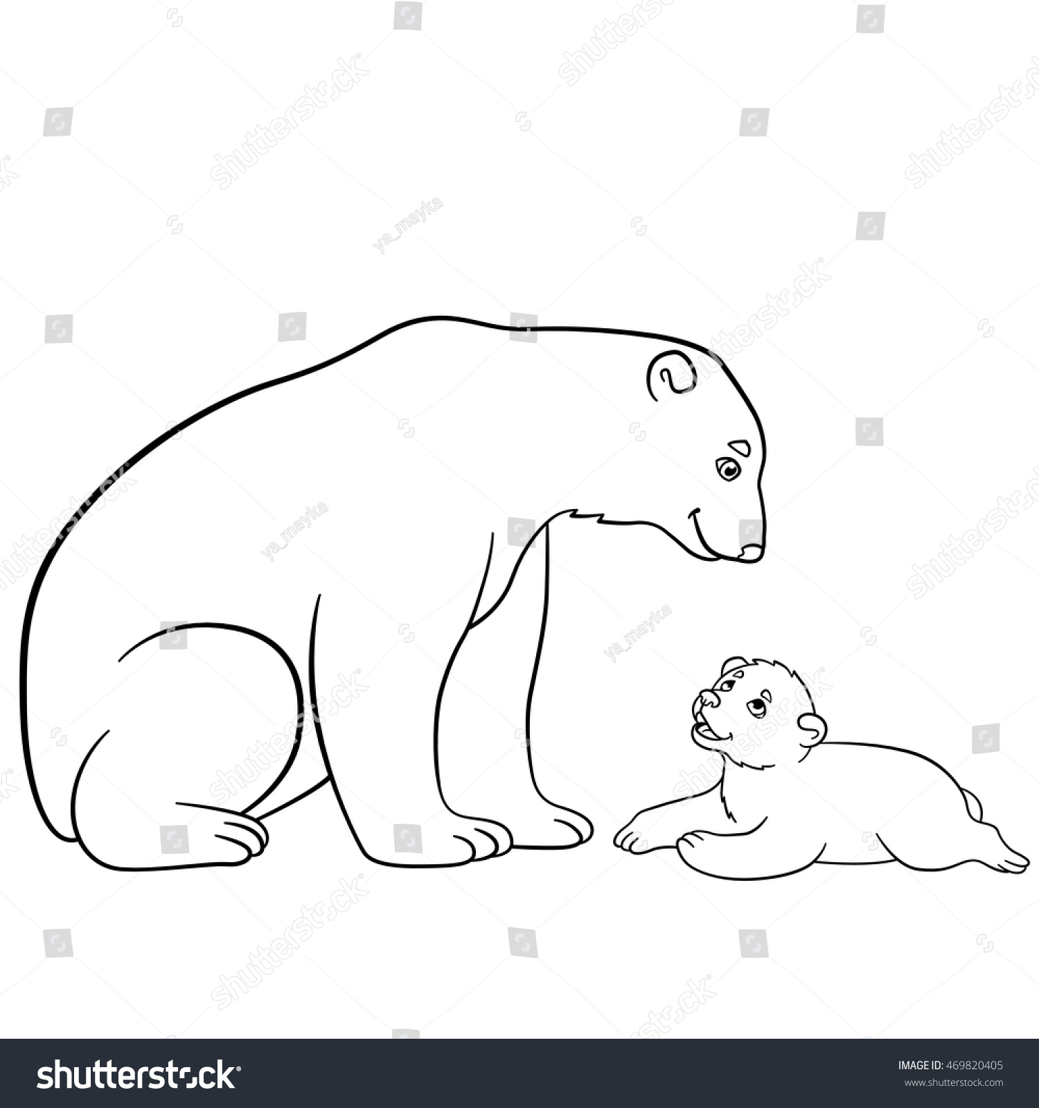 Coloring Pages Mother Polar Bear Sits Stock Vector 469820405 ...