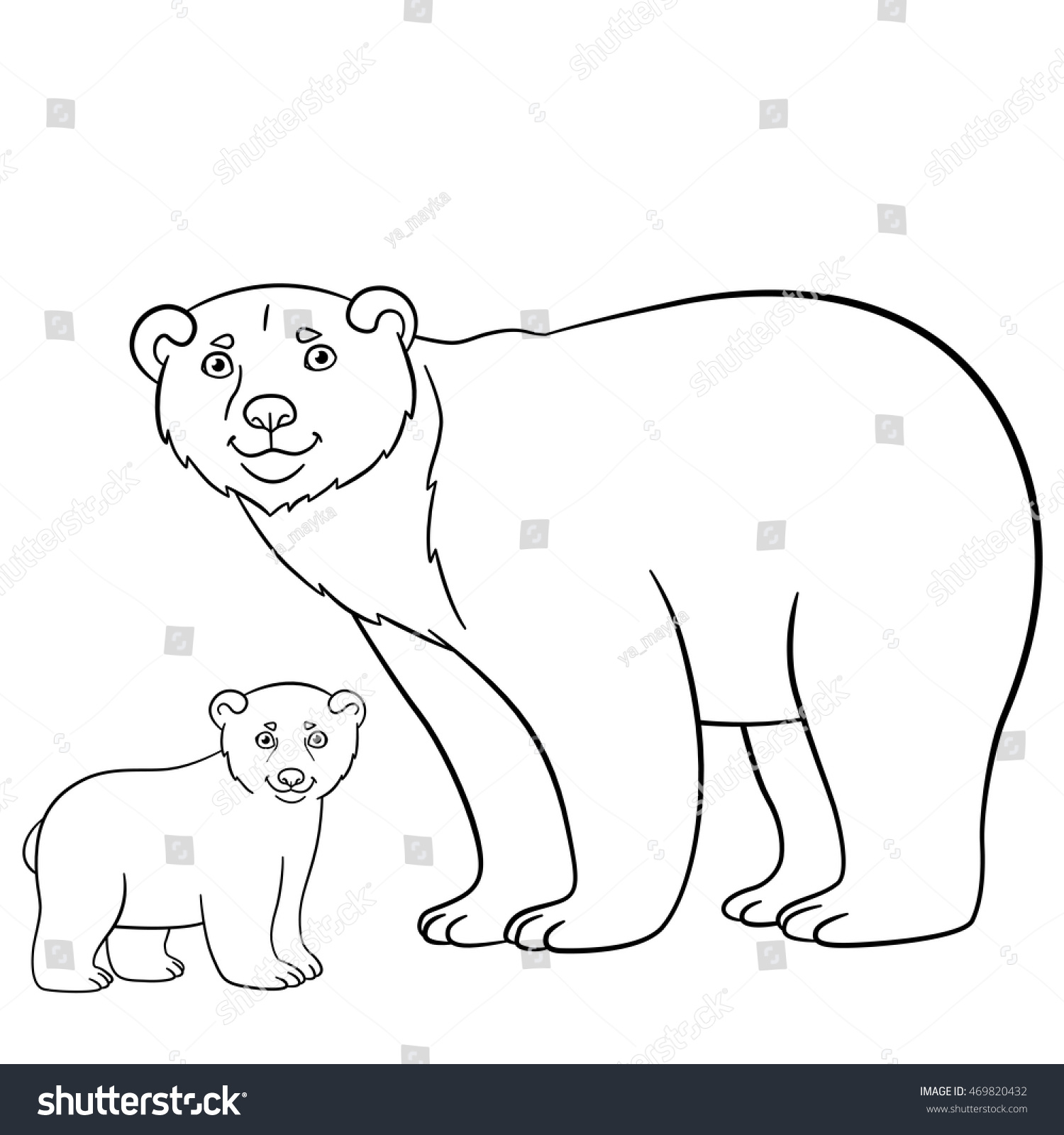 Coloring pages. Mother bear stands with her little cute baby and ...