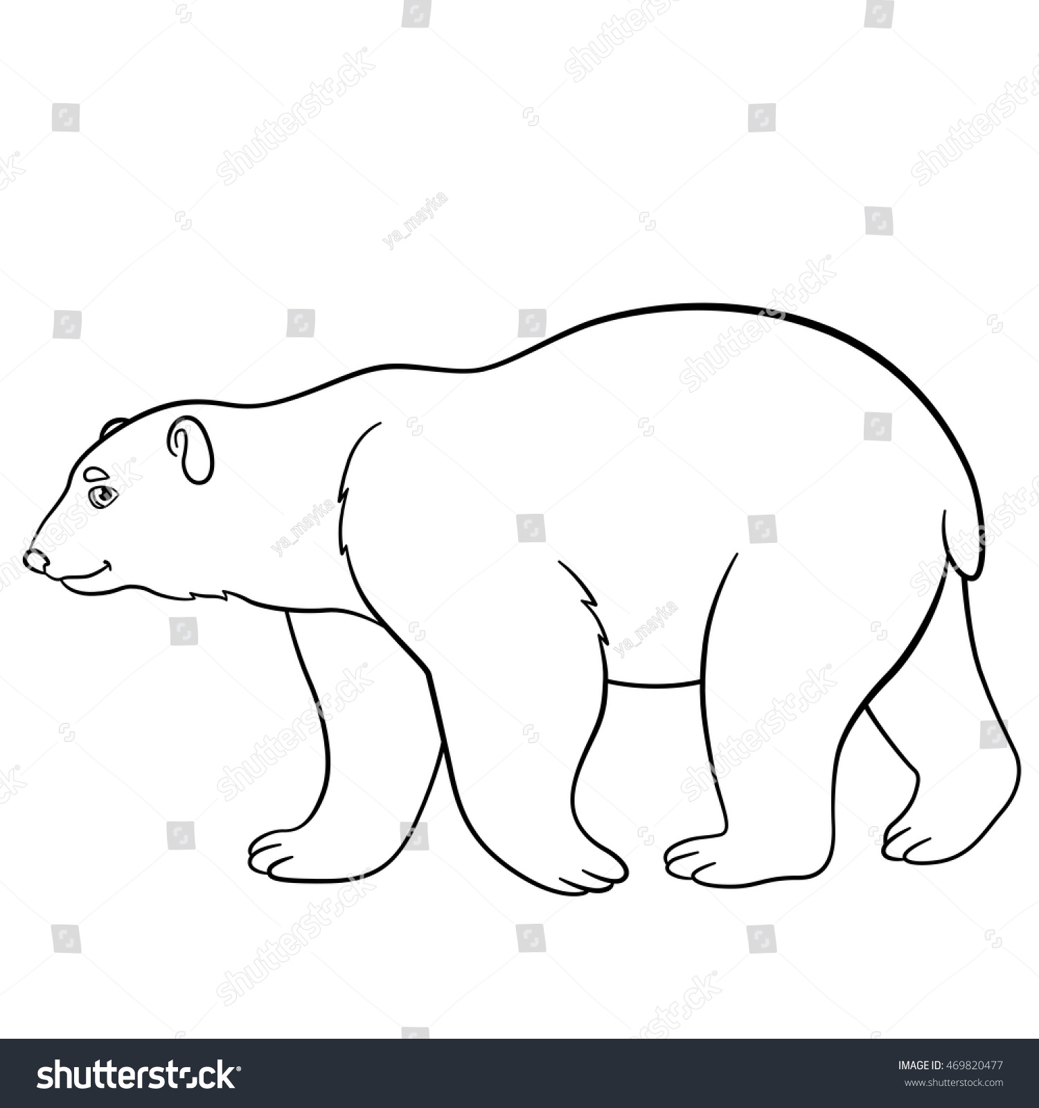 Coloring pages. Cute polar bear walks and smiles. | EZ Canvas
