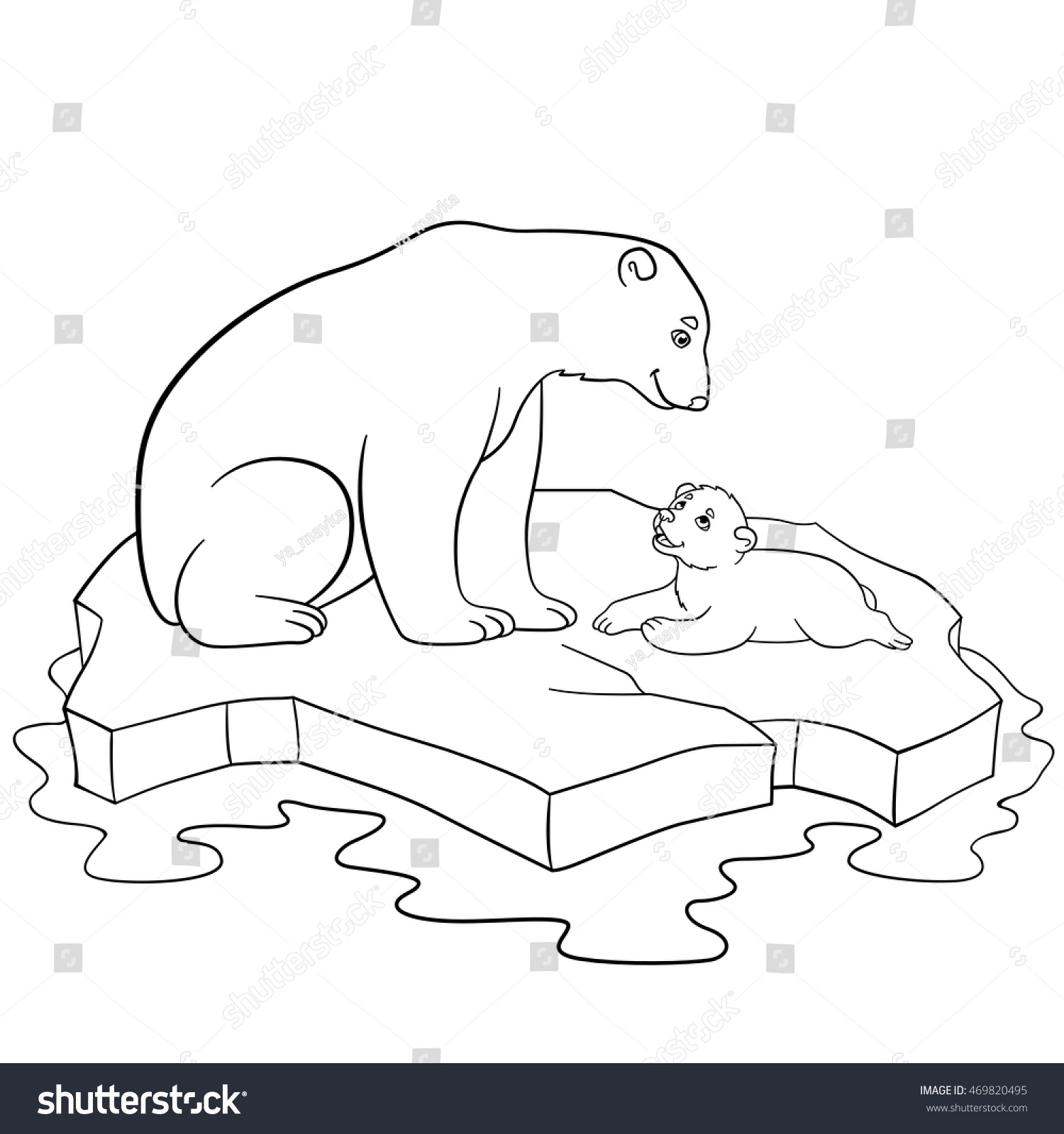 Coloring Pages Mother Polar Bear Sits Stock Vector 469820495 ...