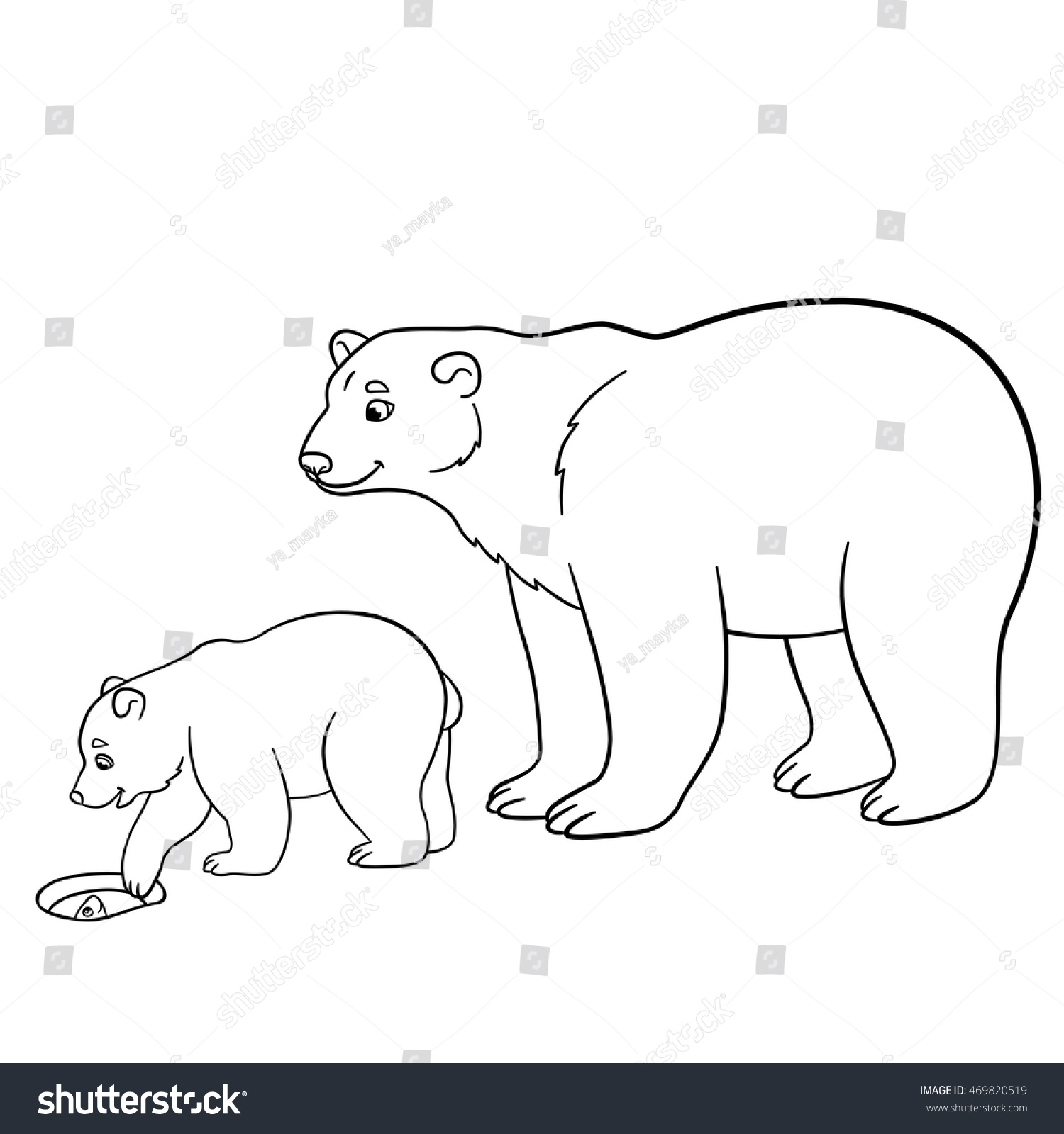 Coloring Pages Mother Polar Bear Her Stock Vector 469820519 ...