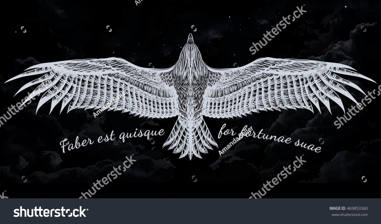 Aguila En La Espalda vector de stock (libre de regalías) sobre Águila dibujada a