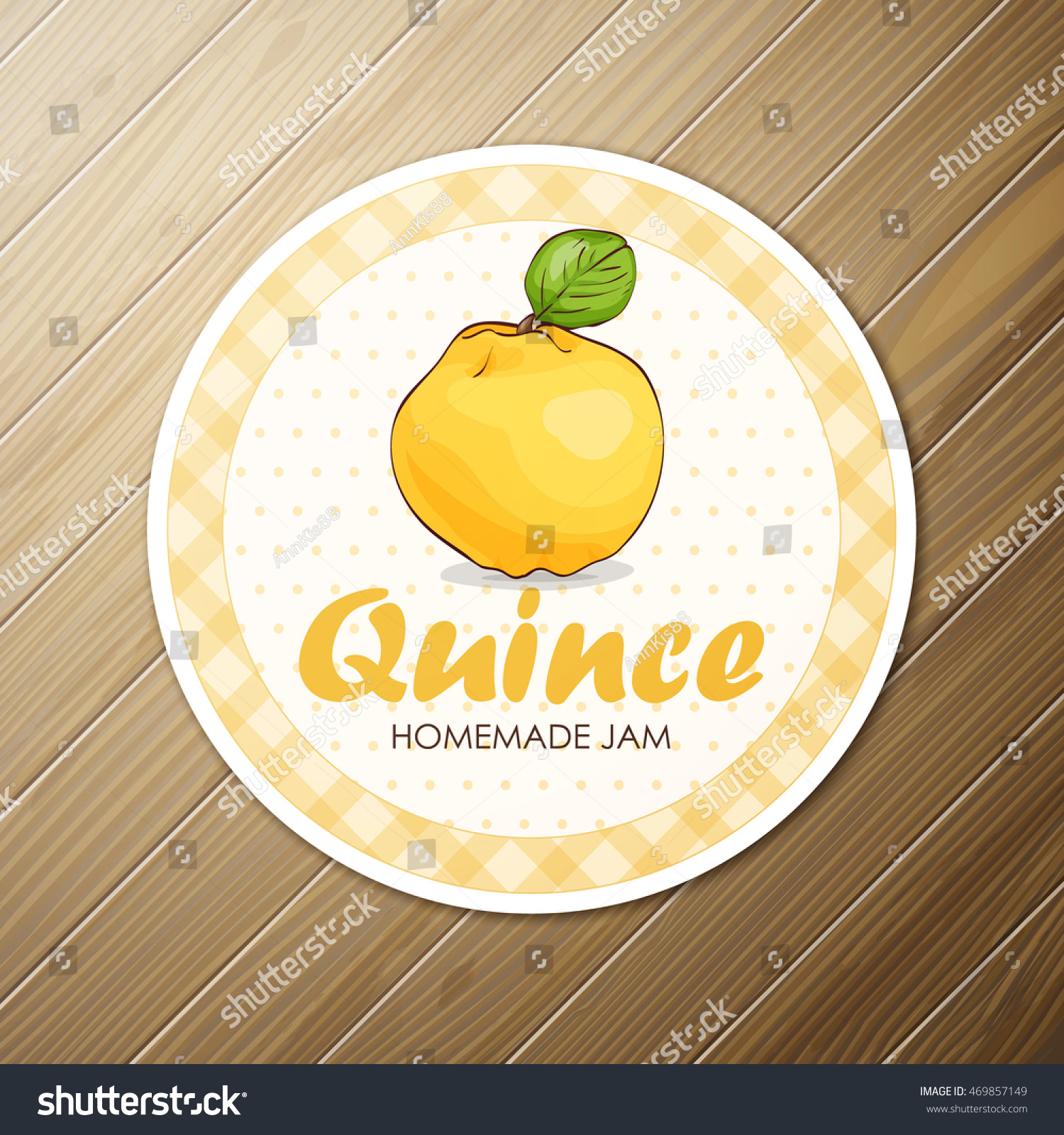 Vector round label quince jam on stock vector 469857149 shutterstock vector round label quince jam on a wooden background biocorpaavc Image collections