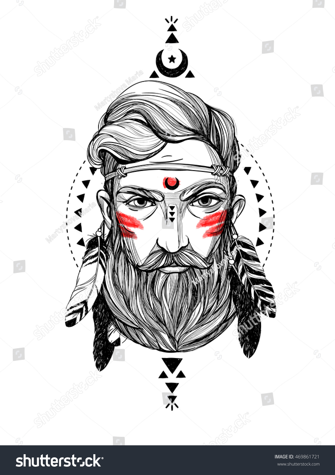 The hipster coloring book for adults - Hand Drawn Portrait Man With Feathers And Ethnic Symbols Vector Hand Drawn Hipster Illustration Isolated