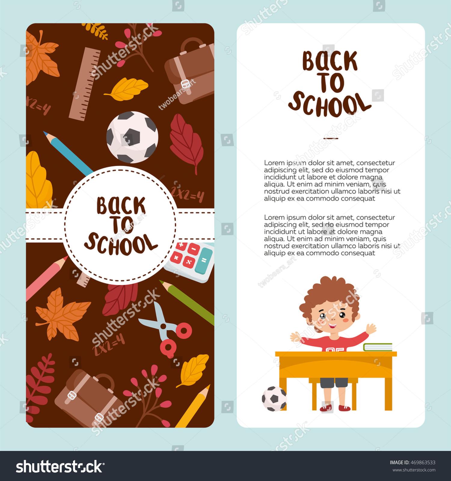 Back School Flyer Template Pupil School Stock Vector (2018 ...