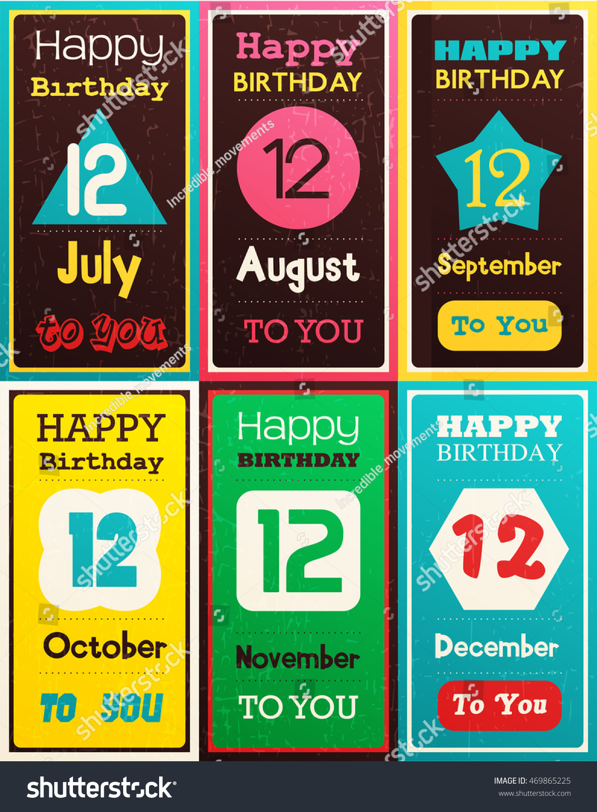 Greeting Happy Birthday Card Date Twelve Of Birth By Month July August September