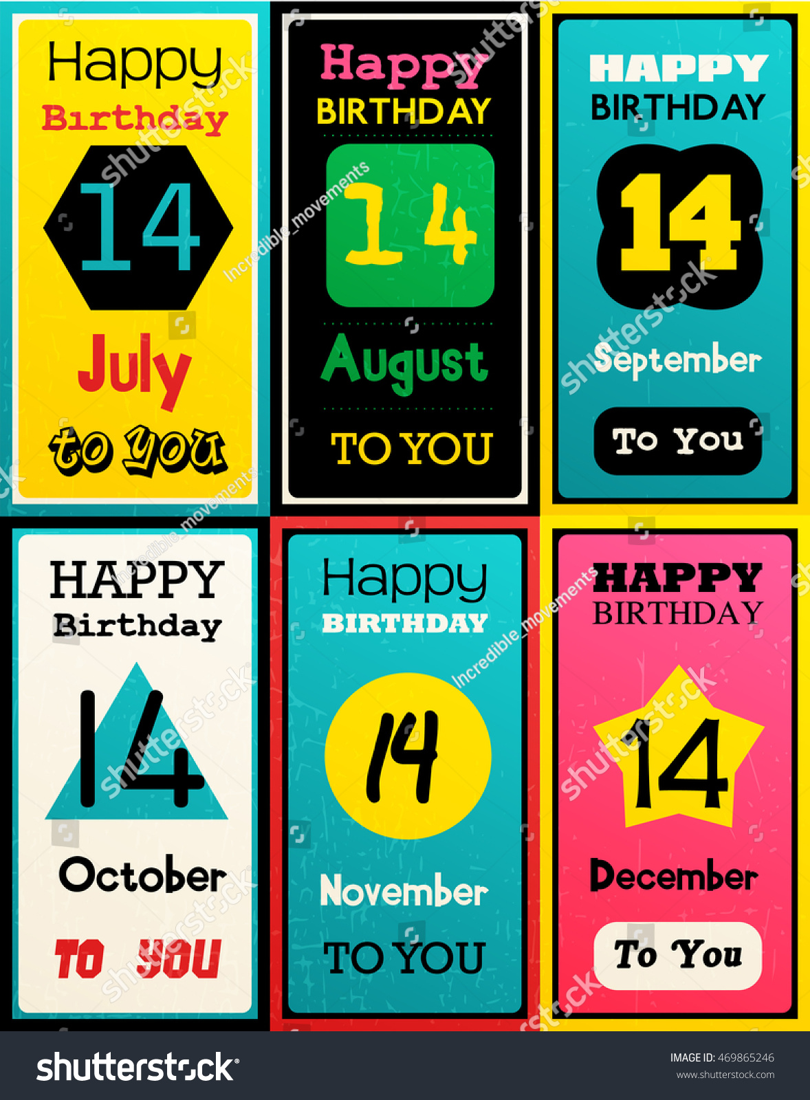 Greeting Happy Birthday Card Date Fourteen Of Birth By Month July August September