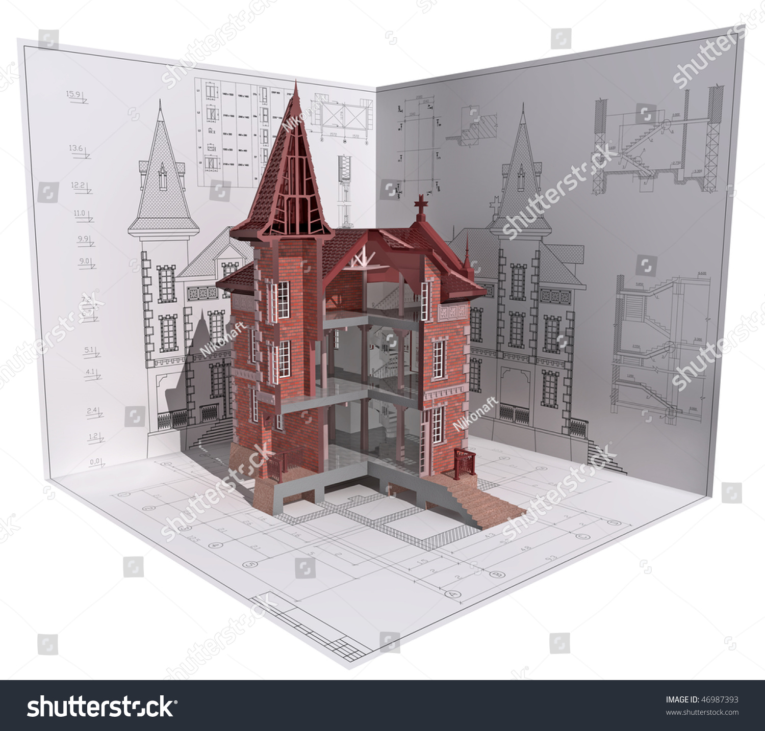 3d isometric view of the cut building on architect u0026 39 s