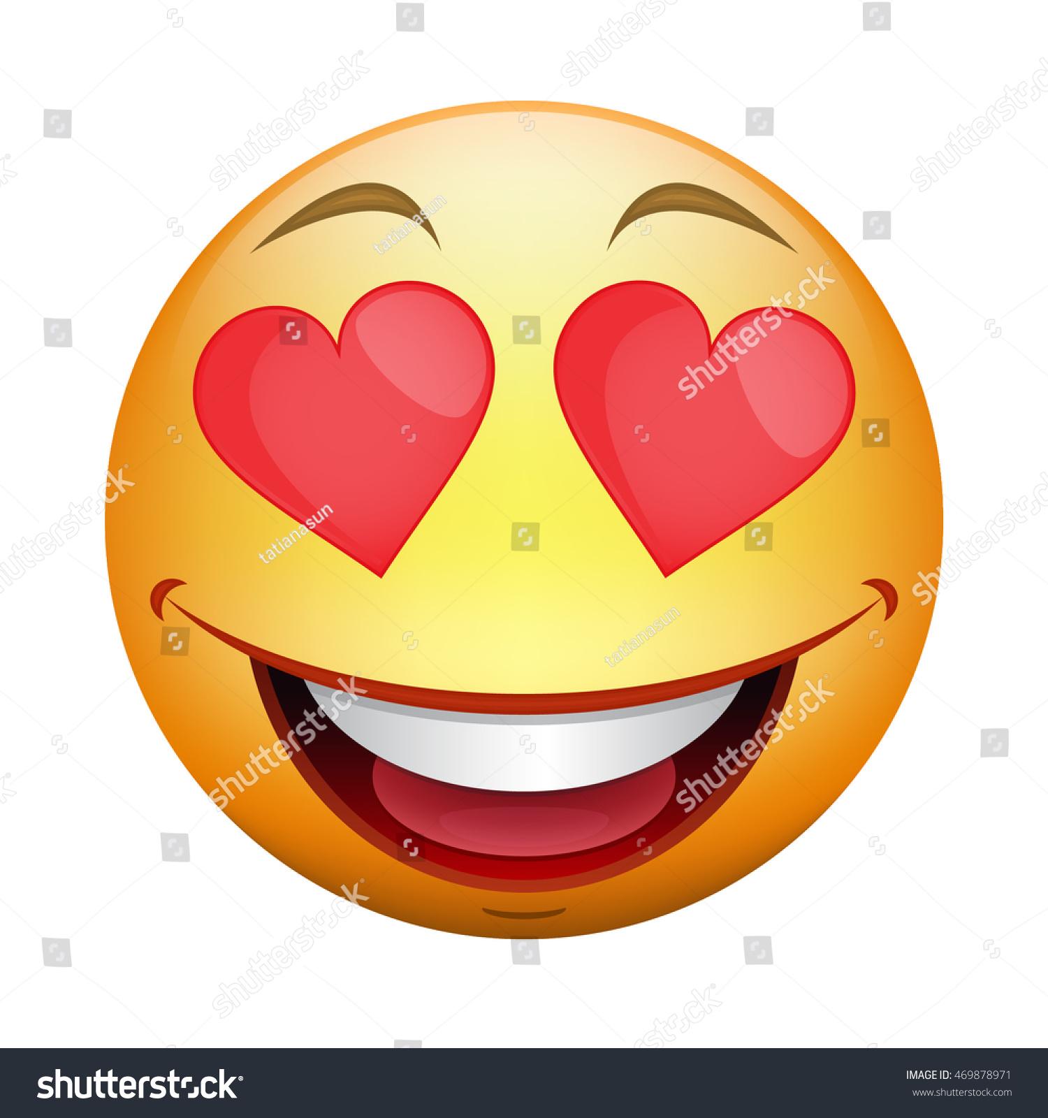 Love Smile Icon Cartoon Colored Smiley Stock Vector