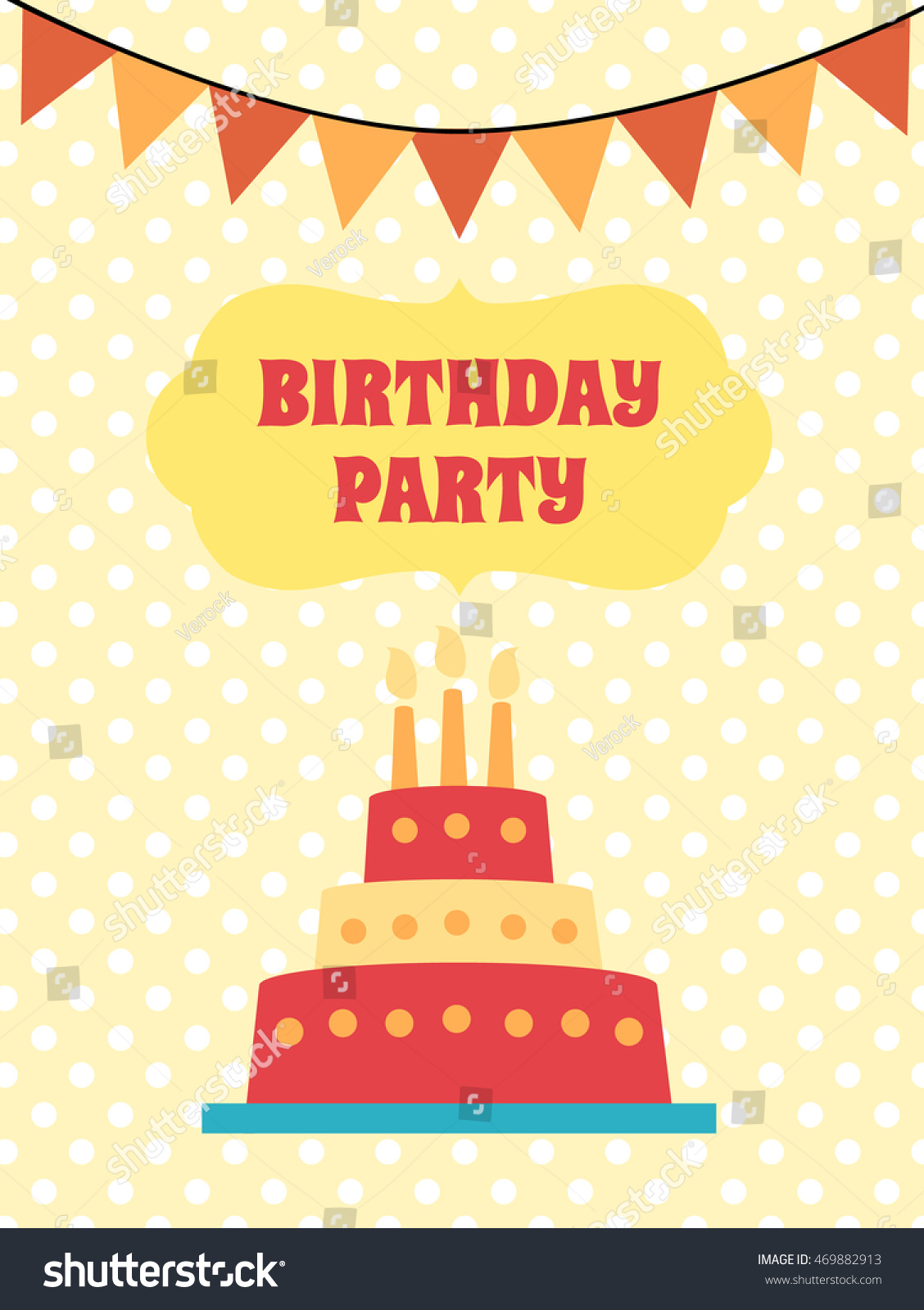 Happy Birthday Card Cartoon Flat Cake Stock Illustration 469882913