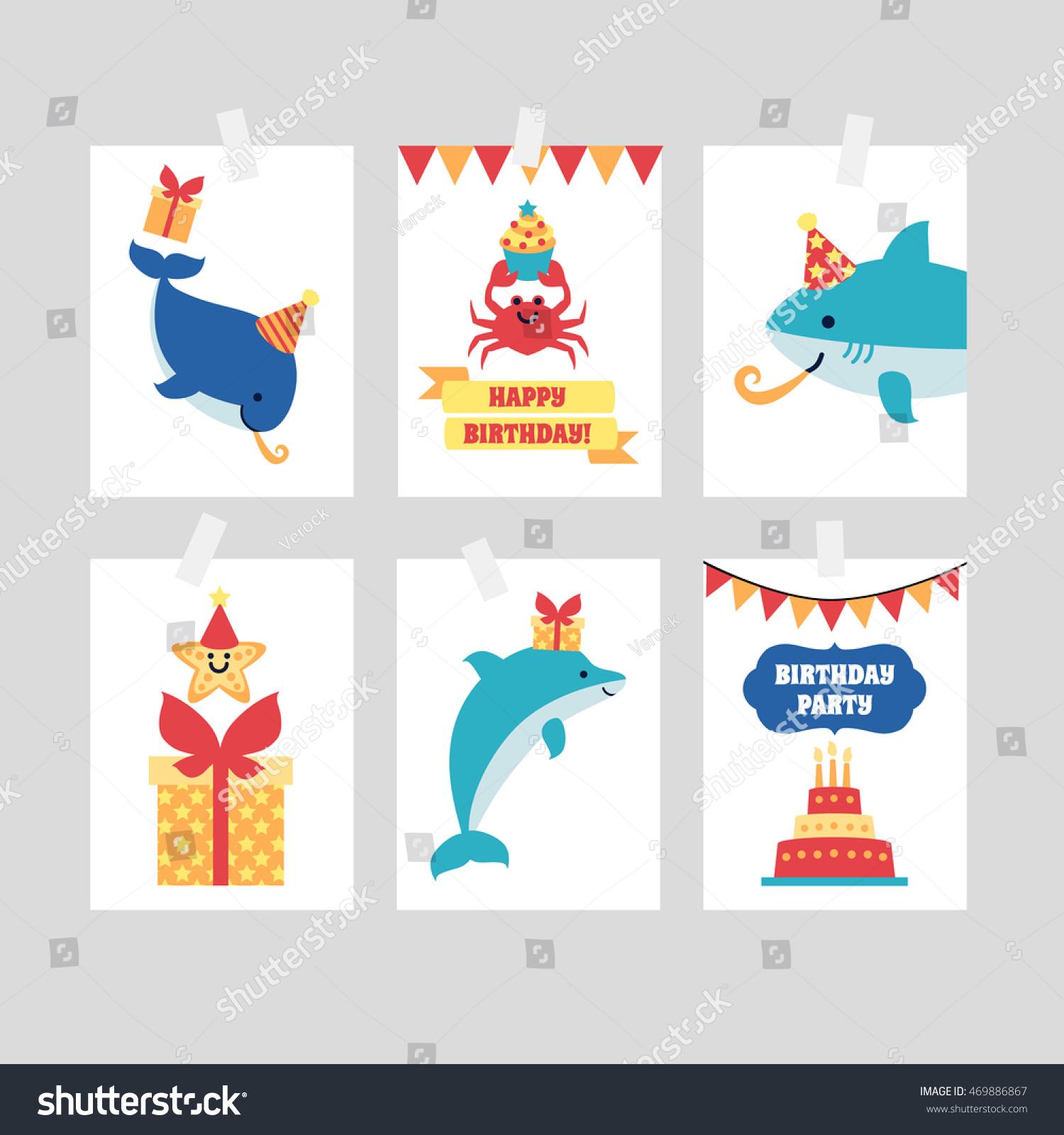 Set Happy Birthday Invitation Congratulation Cards Stock ...