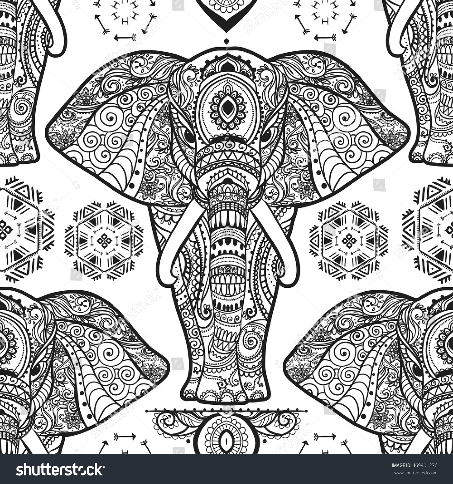 Pattern Baby Elephant Made Vector Color Stock Vector 469901276 ...