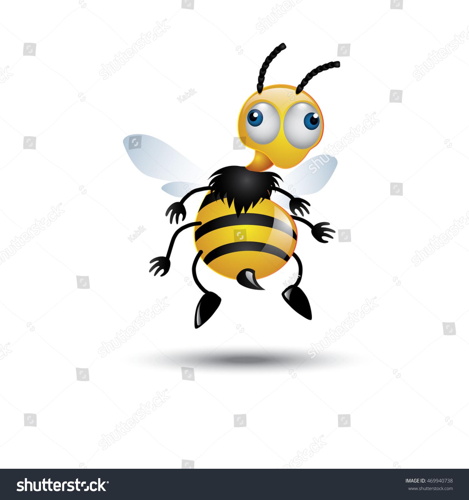 Funny Bee Stock Vektorgrafik Lizenzfrei 469940738 Shutterstock
