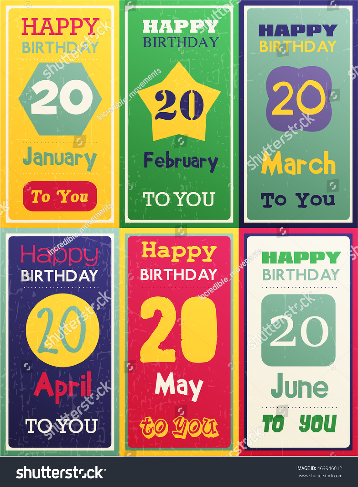 Greeting Happy Birthday Card Date Twenty Of Birth By Month January February March