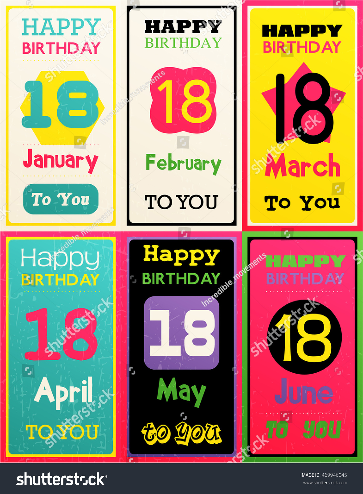 Greeting Happy Birthday Card Date Eighteen Of Birth By Month January February March April May June Vector Illustration Set Six Gift Banners