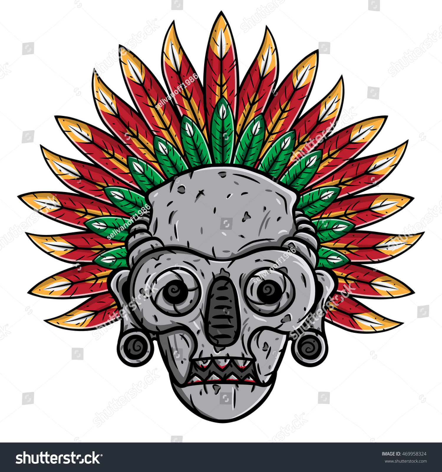 Aztec mask stock vector 469958324 shutterstock for Aztec mask template