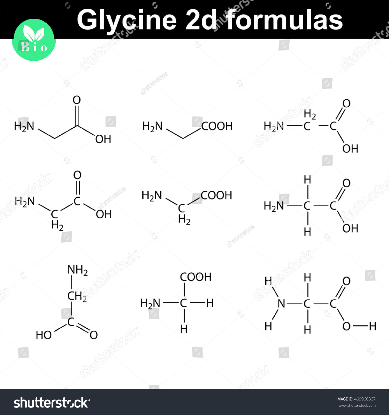 Glycine 2d Chemical Formulas Drawn In Different Styles
