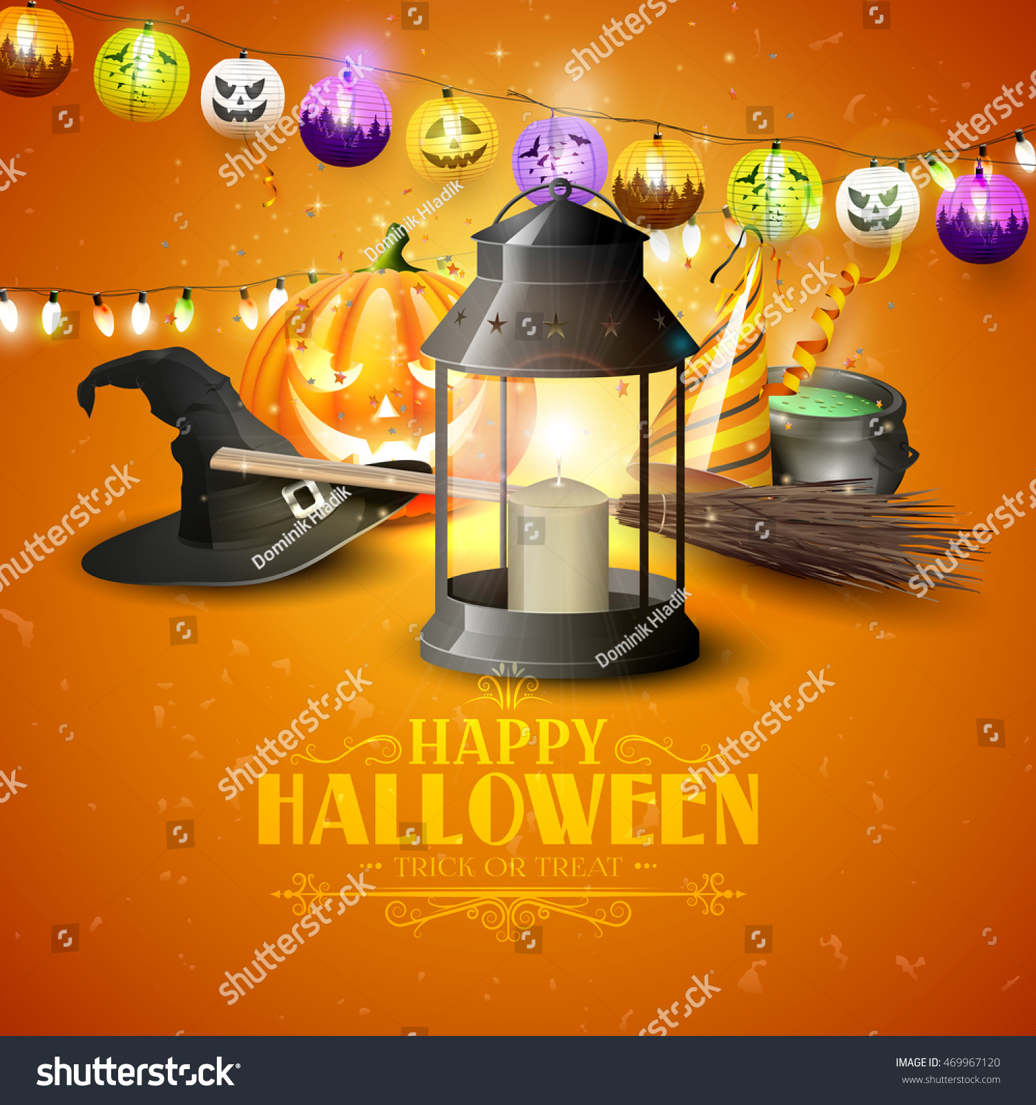 happy halloween greeting card black lantern stock vector (royalty