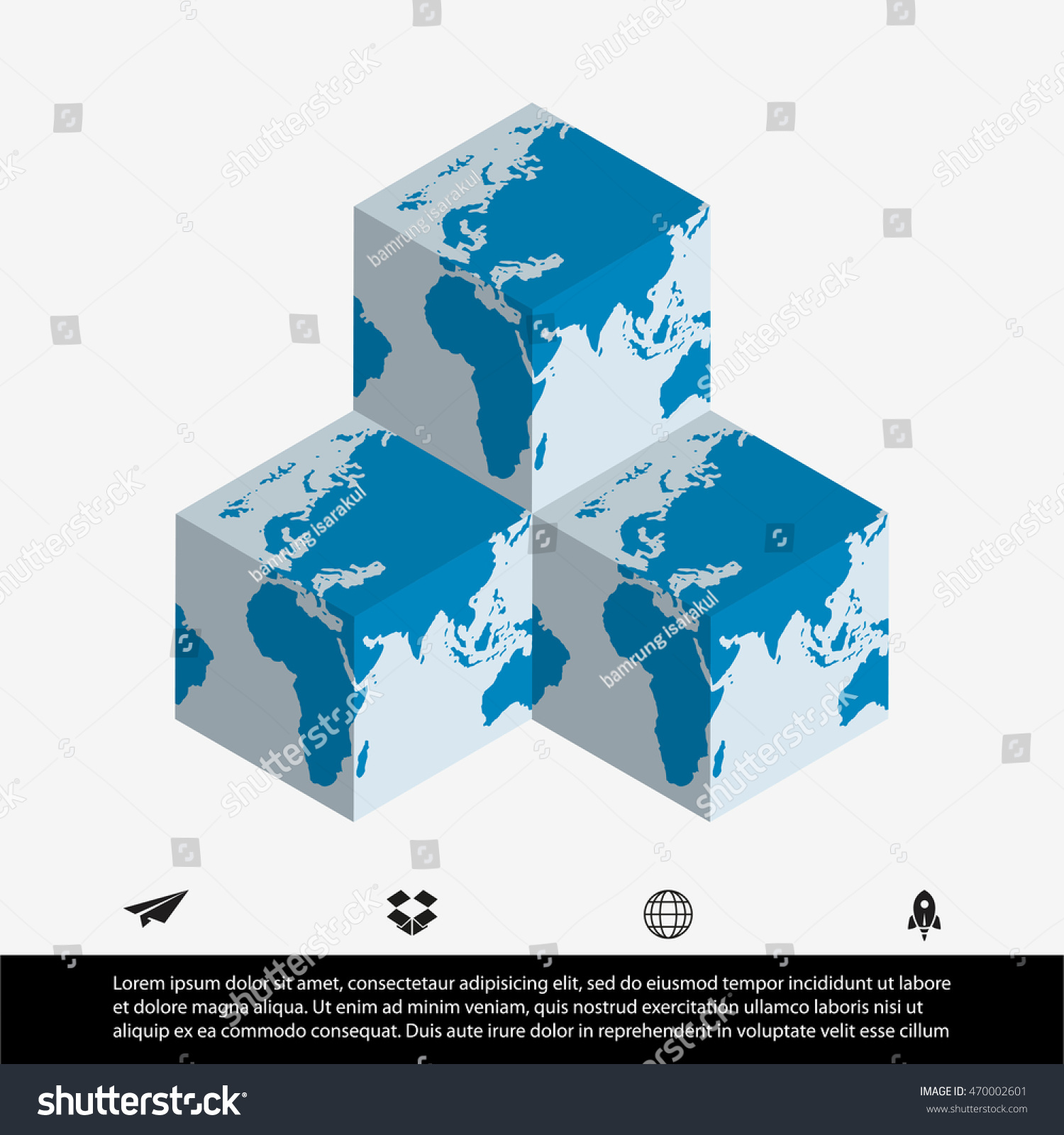 World map cube stock vector 470002601 shutterstock world map and cube sciox Gallery