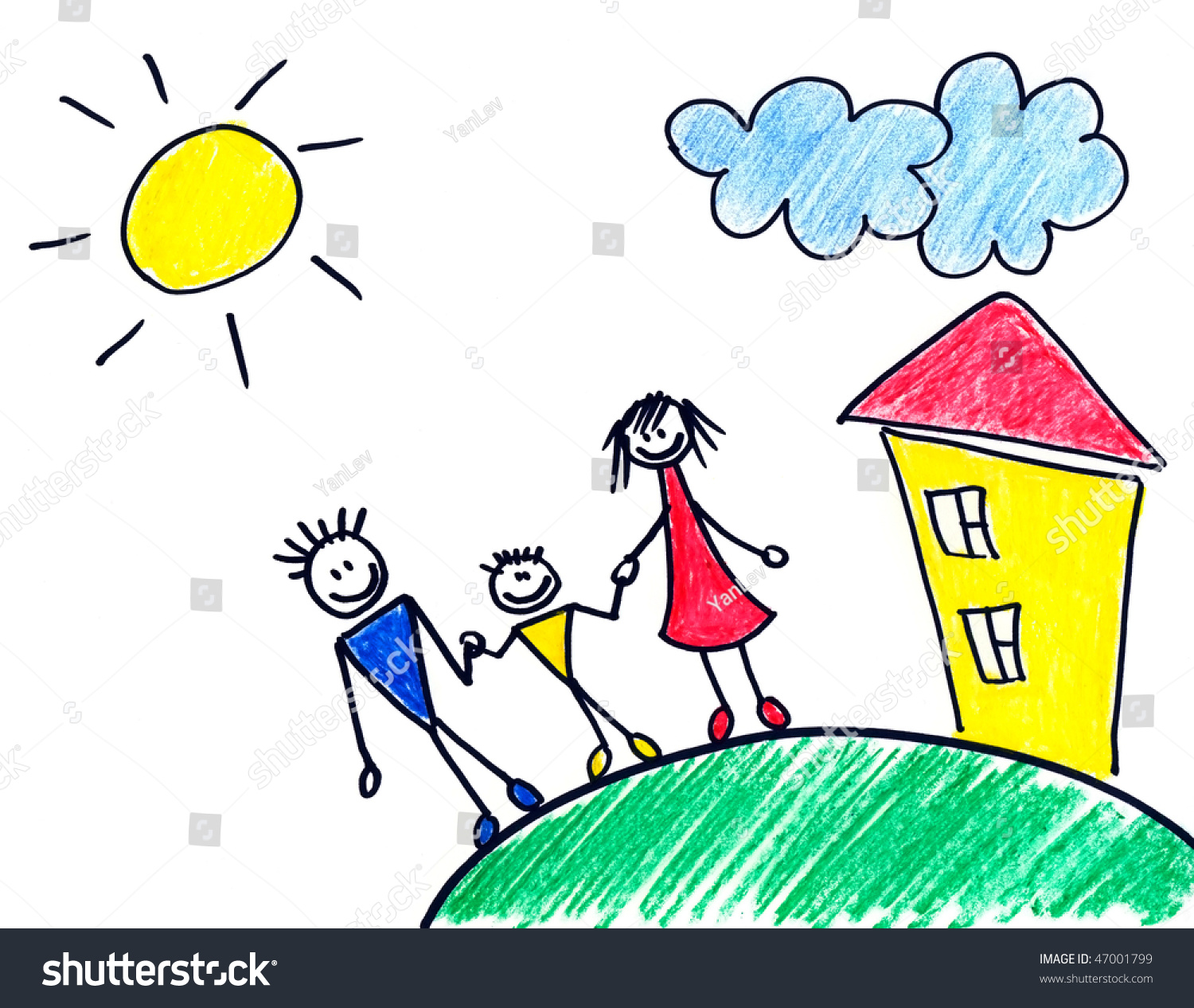 childrens drawing of happy family about small house - Drawing For Small Children