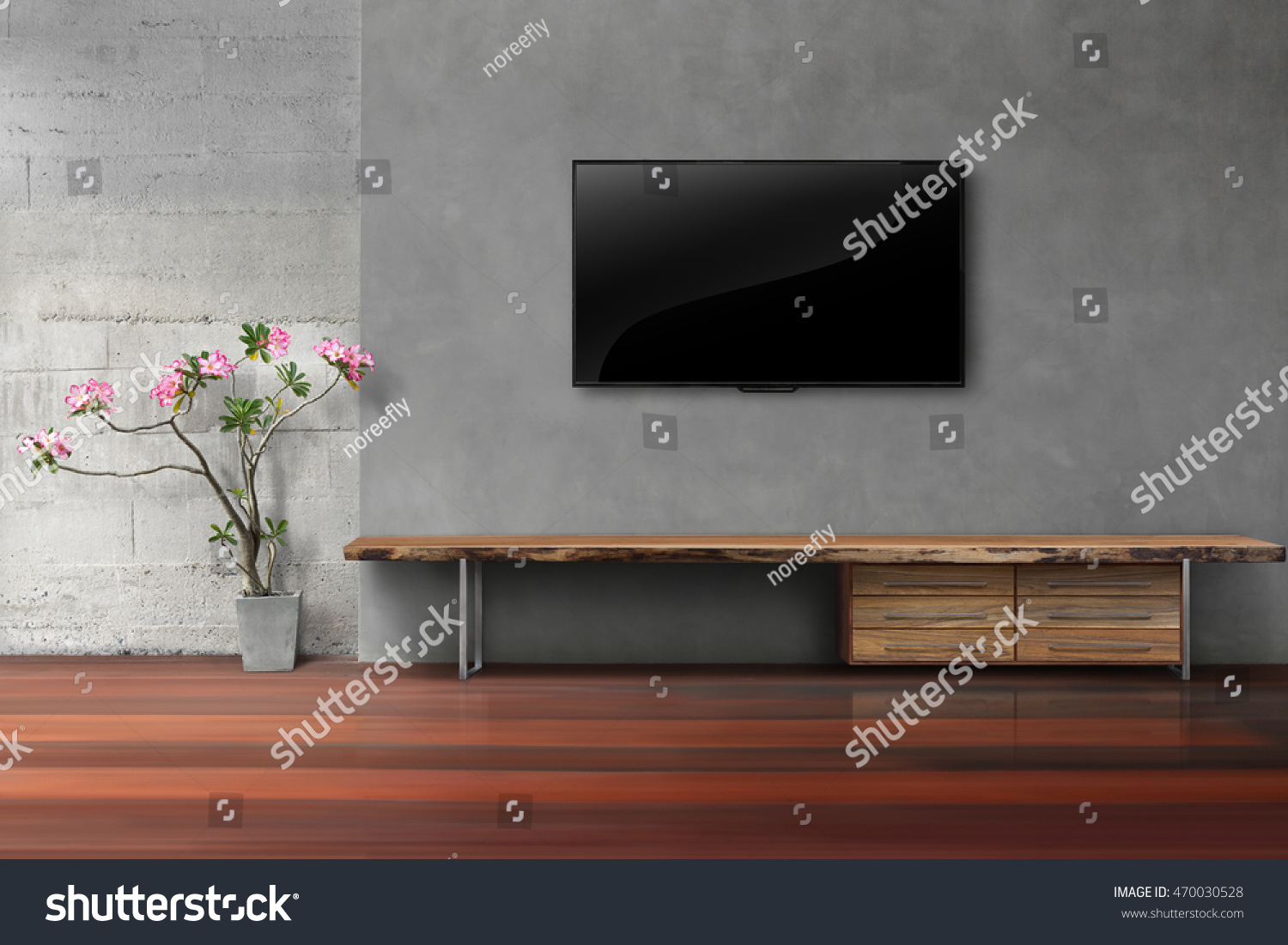 Living Room Led Tv On Concrete Wall With Empty Wooden Stand 470030528. Full resolution  picture, nominally Width 1500 Height 1101 pixels, picture with #A32863.