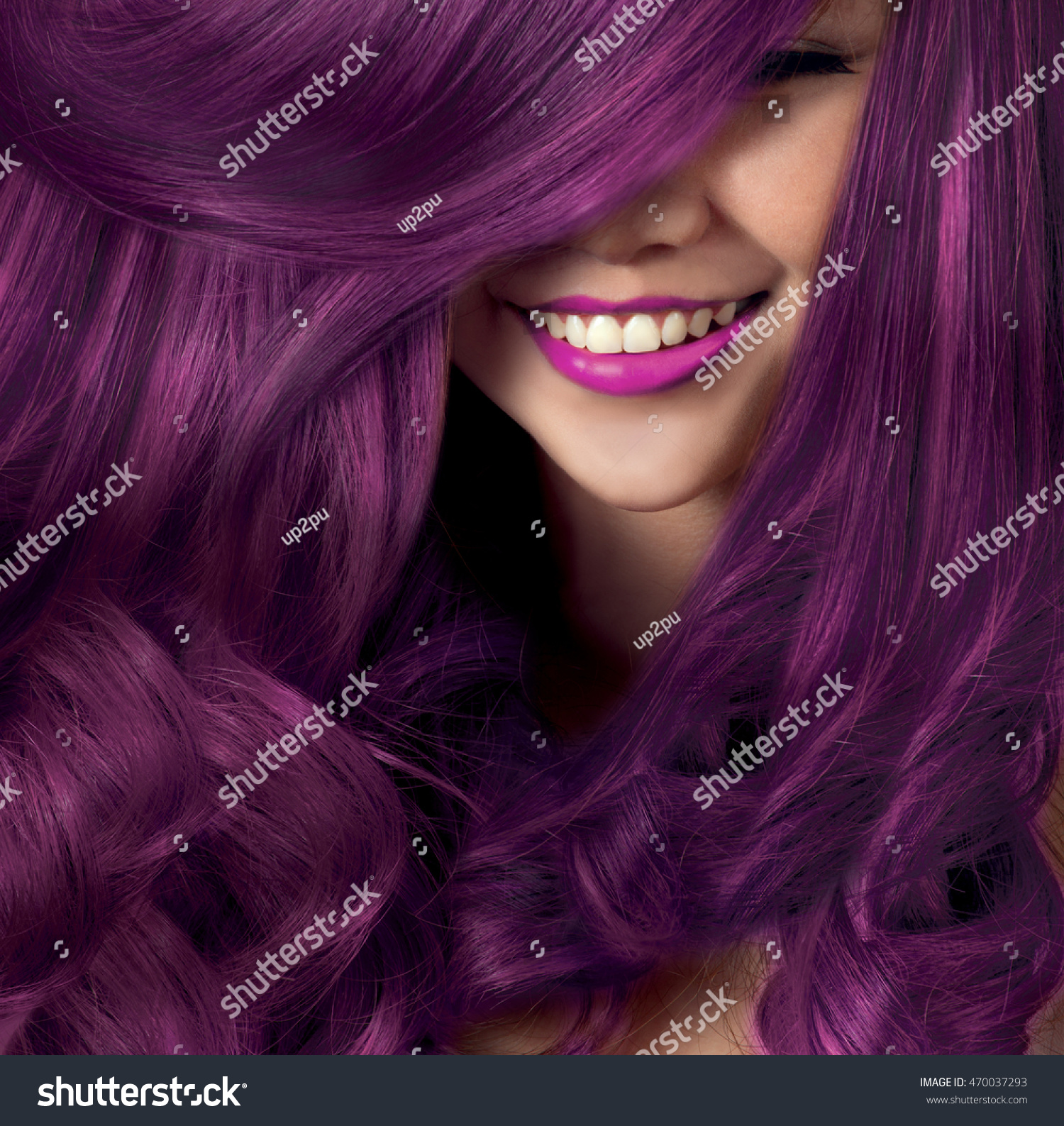 Beautiful Smile Model Silky Hair Colorful Stock Photo Edit Now