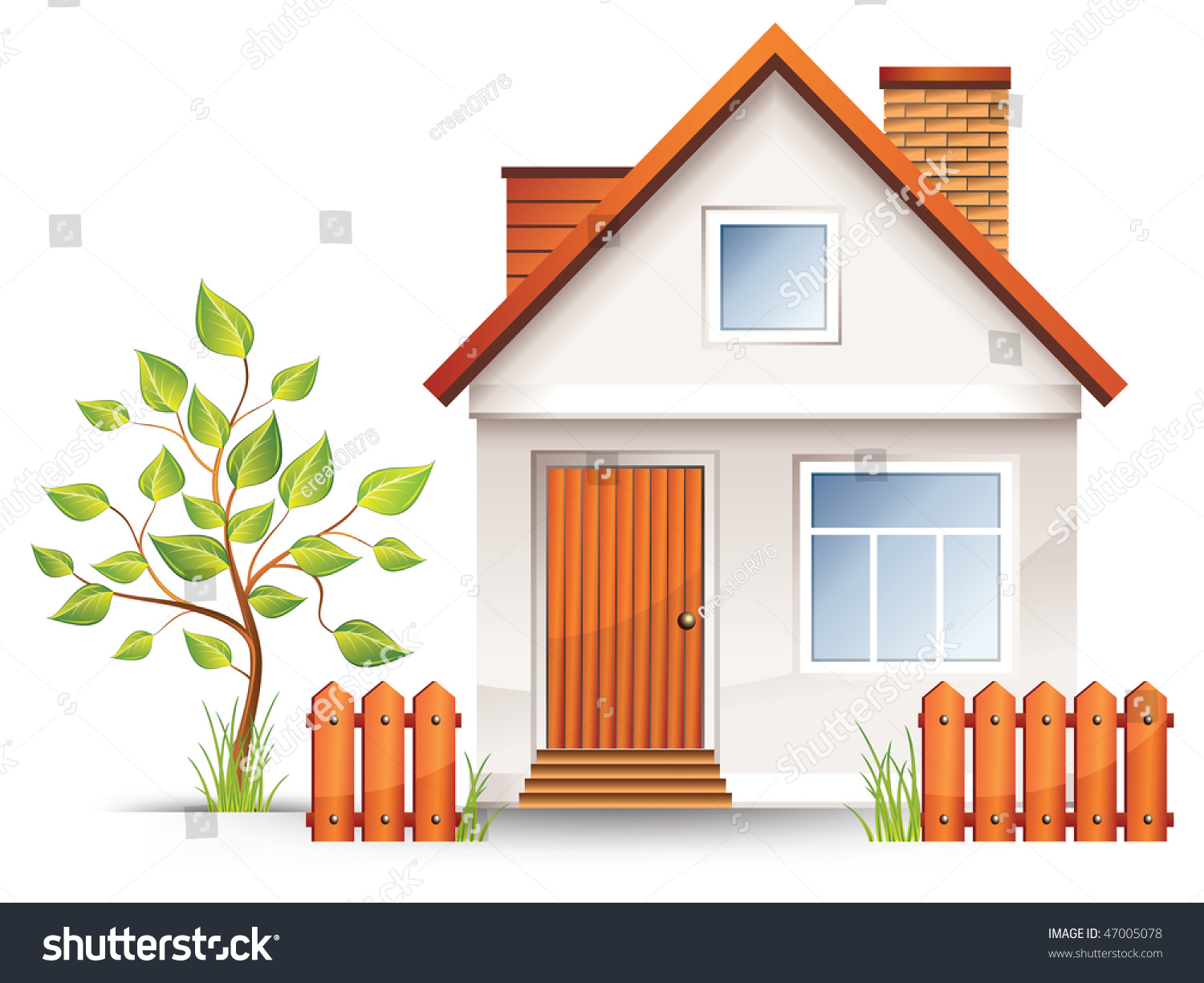Terrific Small House Nice Green Court Yard Stock Vector 47005078 Shutterstock Largest Home Design Picture Inspirations Pitcheantrous