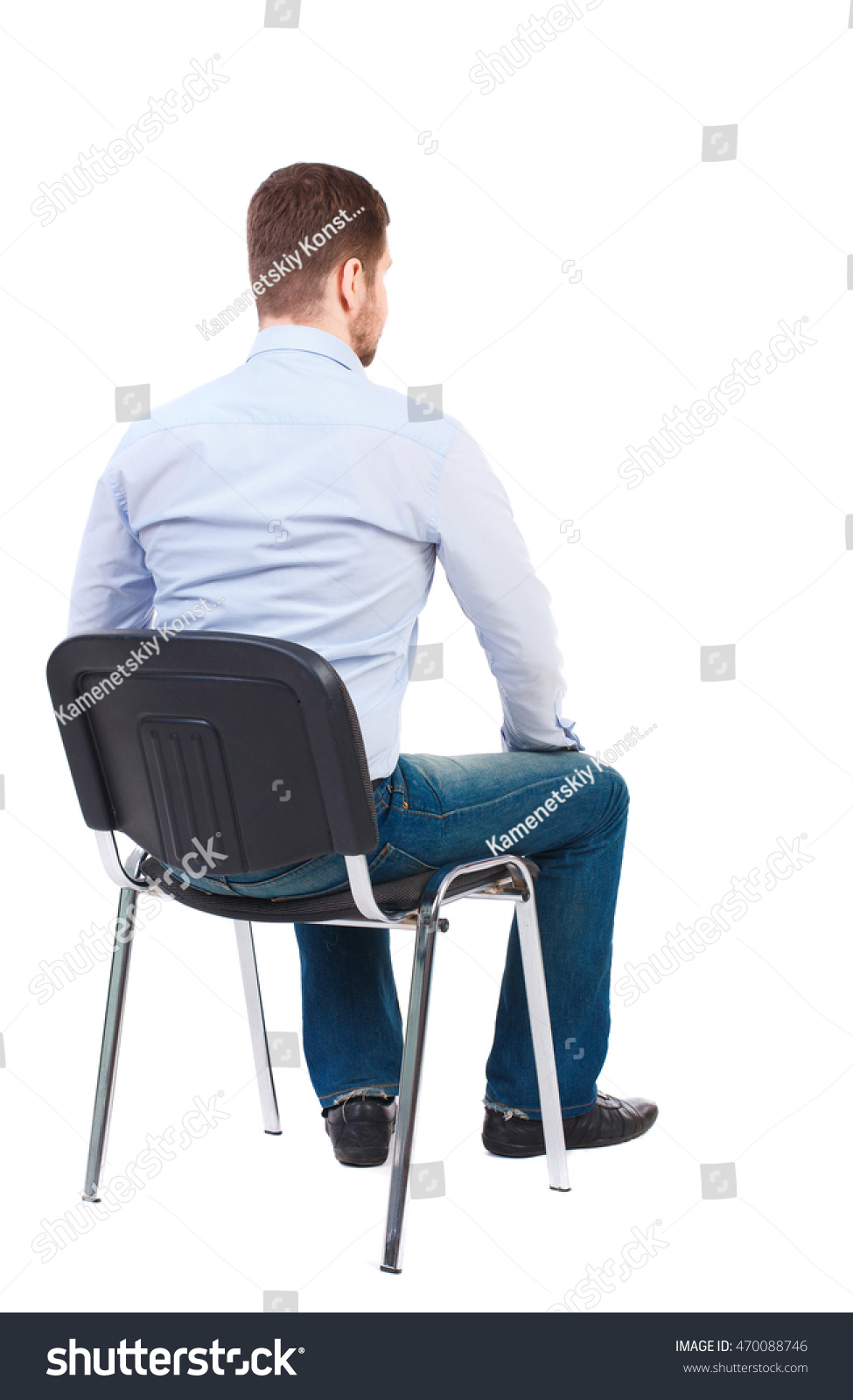 Back View Business Man Sitting On Stock Photo 470088746 ...