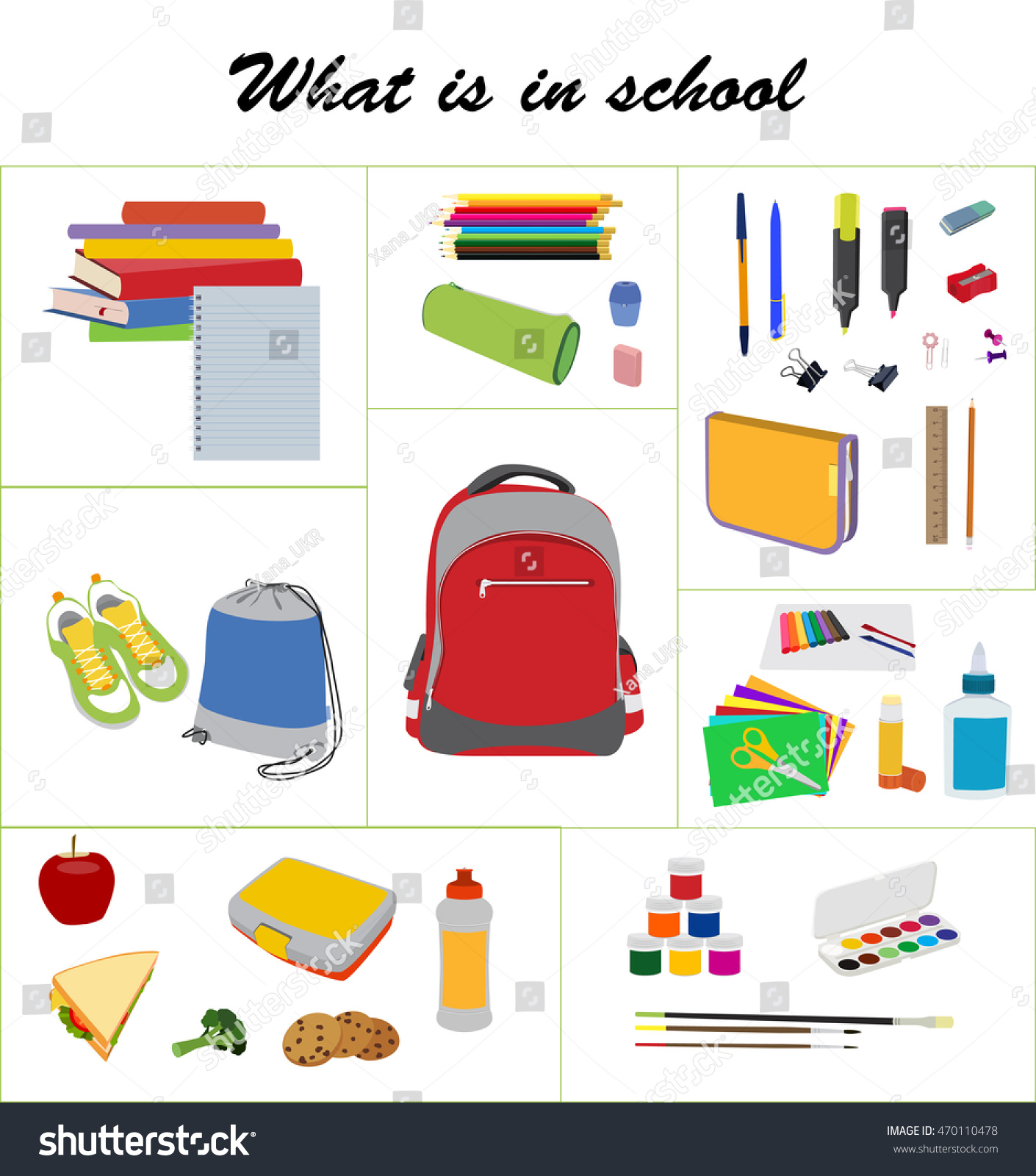 school text box clipart. what is in school bag essentials flat vector set backpack gym text box clipart