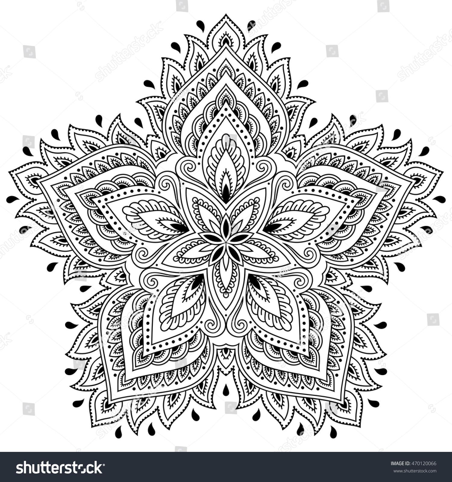 Handdrawn Floral Linear Mandala Achromatic Vector Illustration