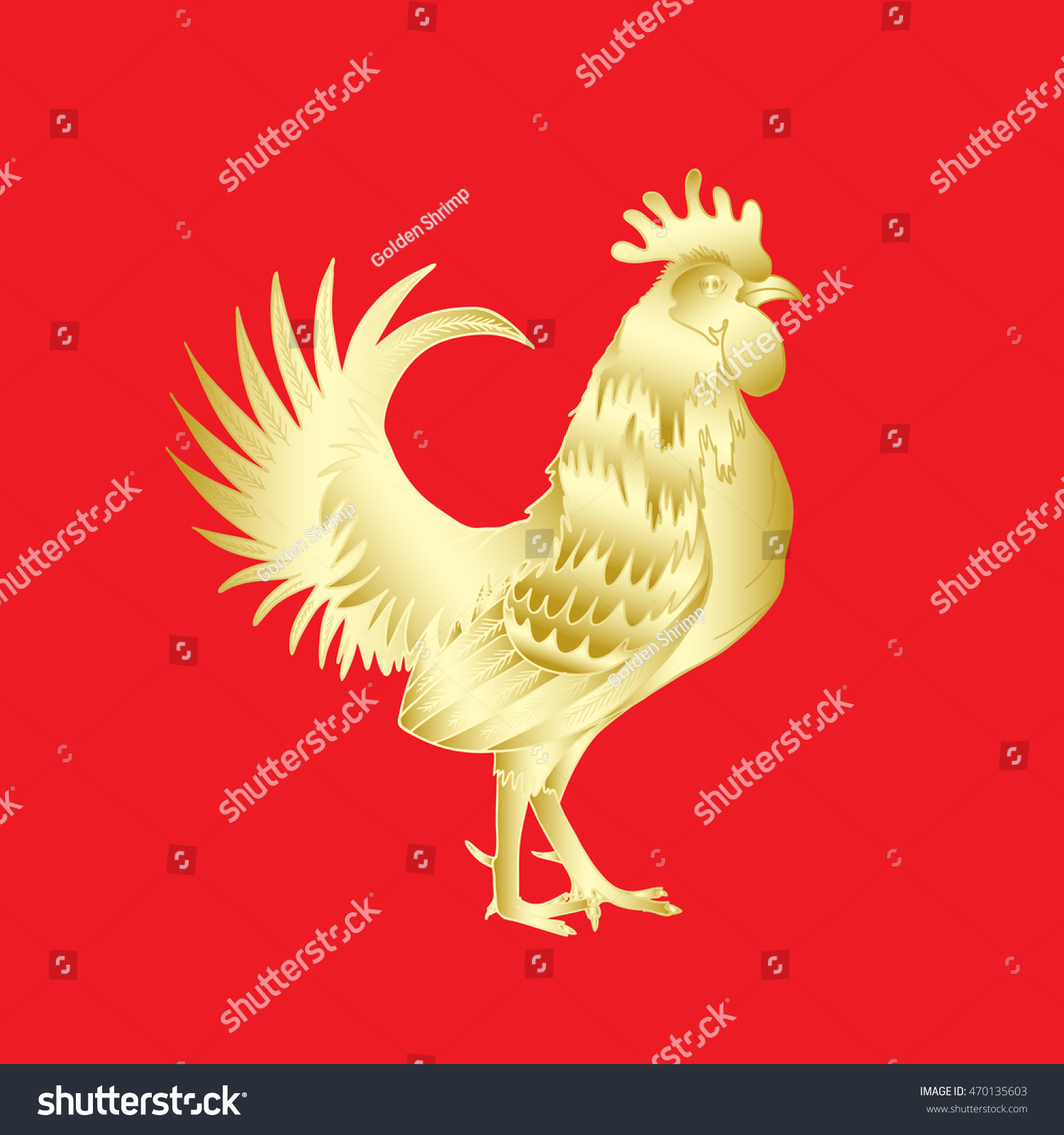 Chinese 2017 new year rooster symbol stock vector 470135603 chinese 2017 new year of the rooster symbol gold metallic rooster on red background is biocorpaavc
