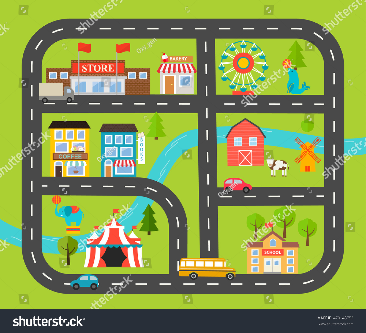 Children Activity Entertainment Play Mat City Stock Vector