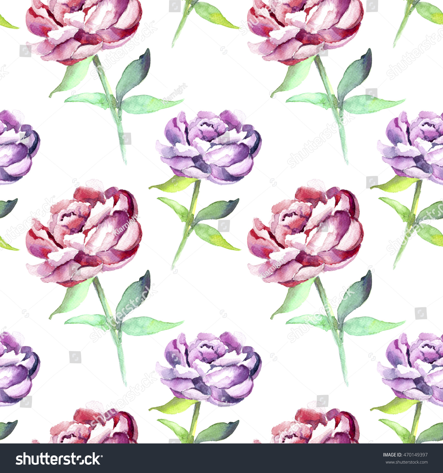 Seamless Pattern With Hand Drawn Watercolor Ice Cream: Hand Drawn Seamless Watercolor Floral Pattern Stock