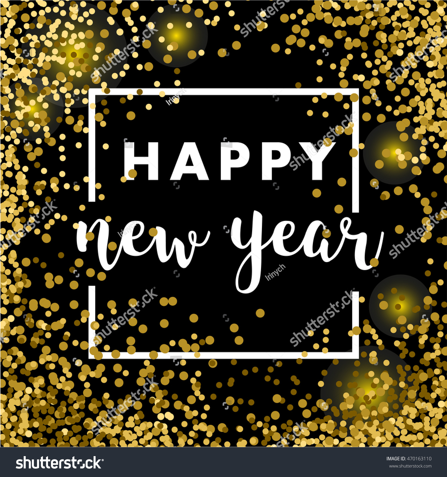 dark golden glitter happy new year 2017 card glowing celebrate background vector illustration