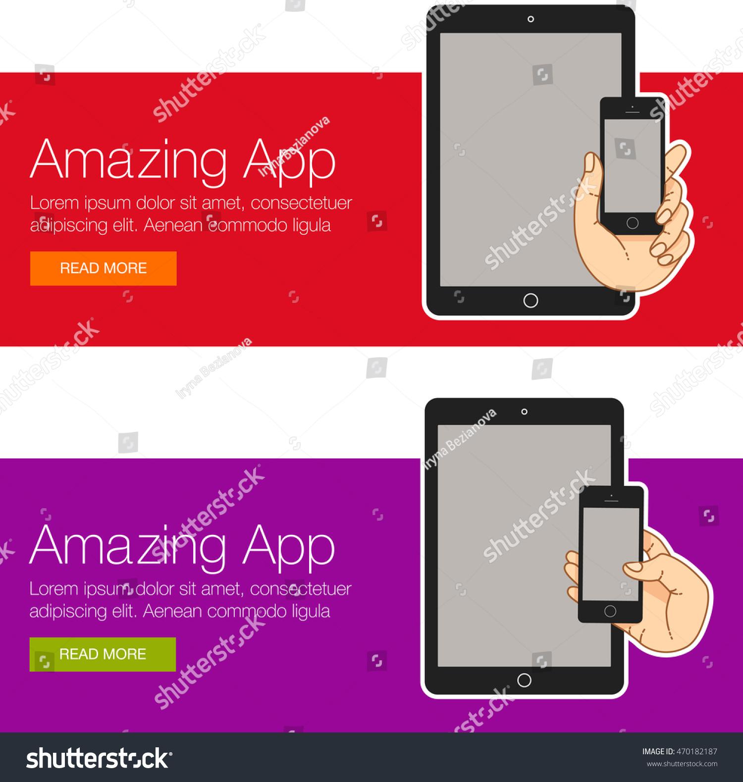 set illustration smartphone banner presentation website stock, Presentation templates