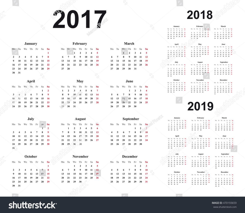 Calendar Typography Year : Basic calendar design years  stock vector