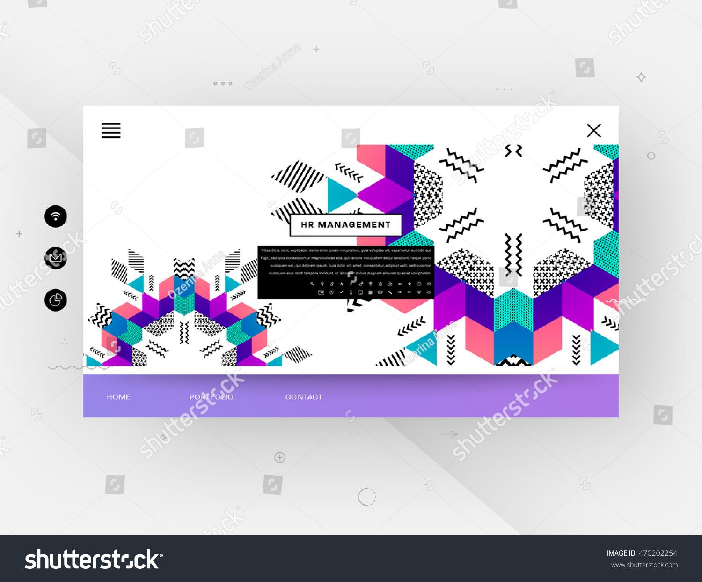 website template trendy geometric flat pattern stock vector 470202254 shutterstock