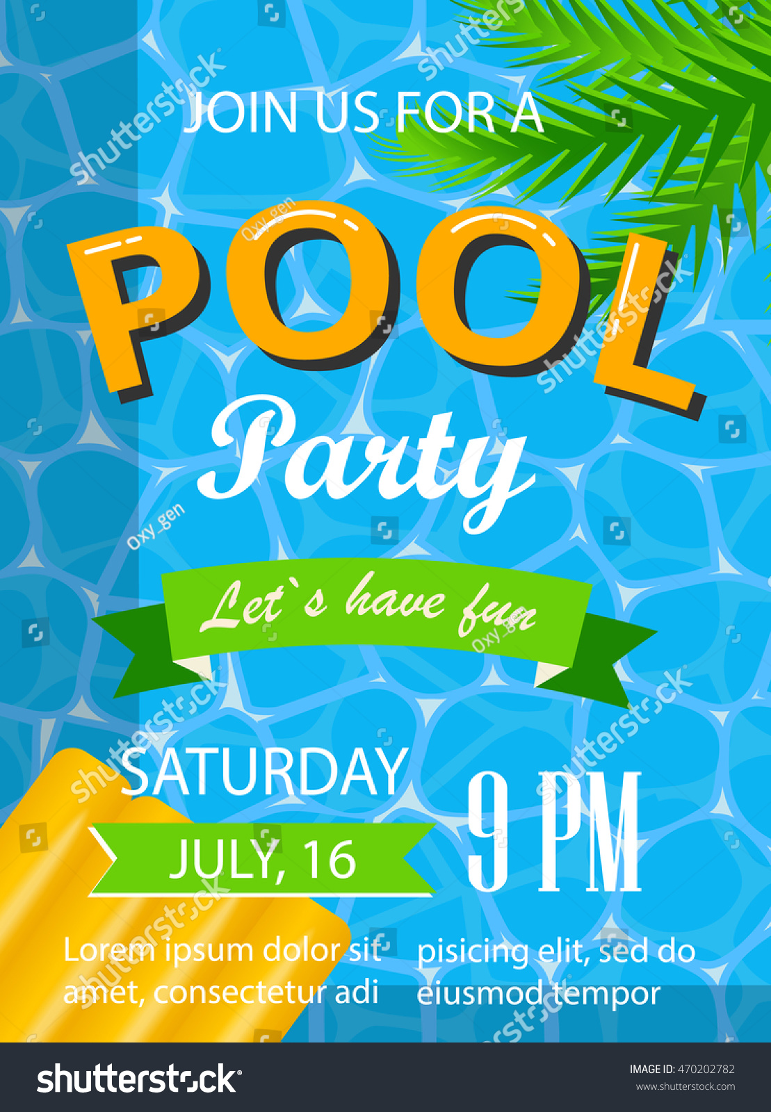 Pool Party Poster Flyer Banner Template Stock Vector