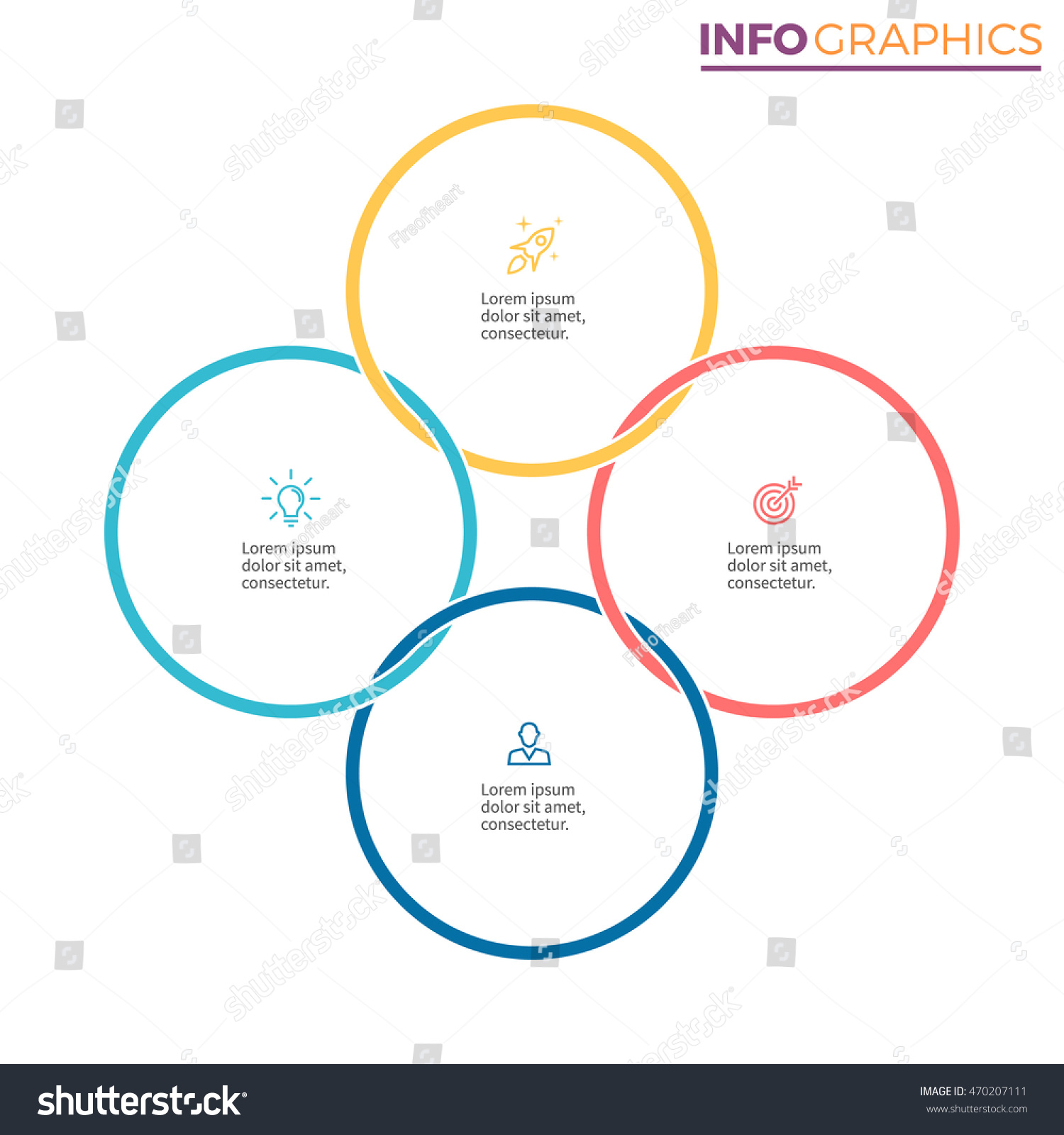 Connected circles infographics chart diagram 4 stock vector connected circles for infographics chart diagram with 4 steps options parts ccuart Images