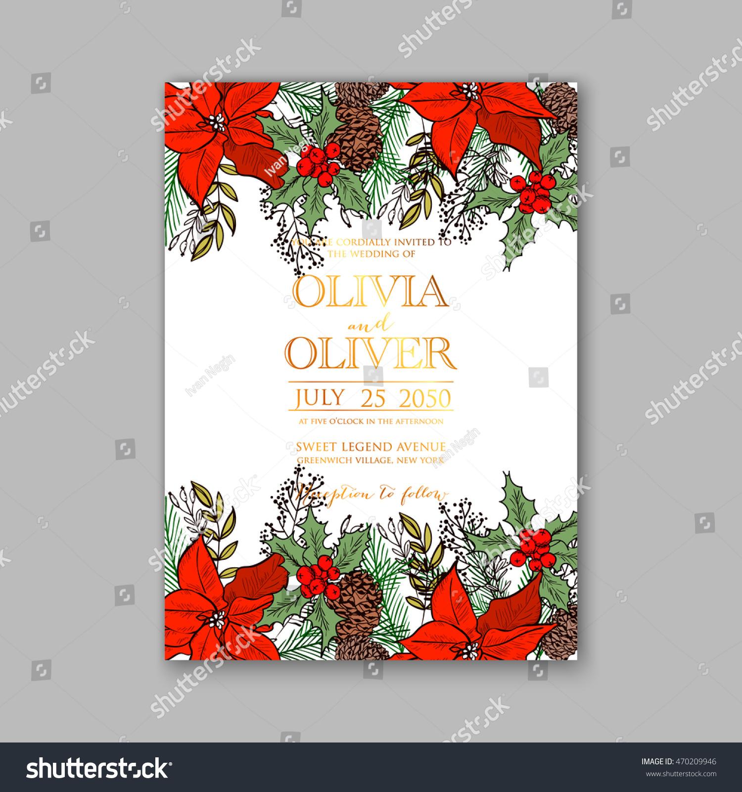 Floral Wedding Invitation Winter Christmas Wreath Stock Vector ...