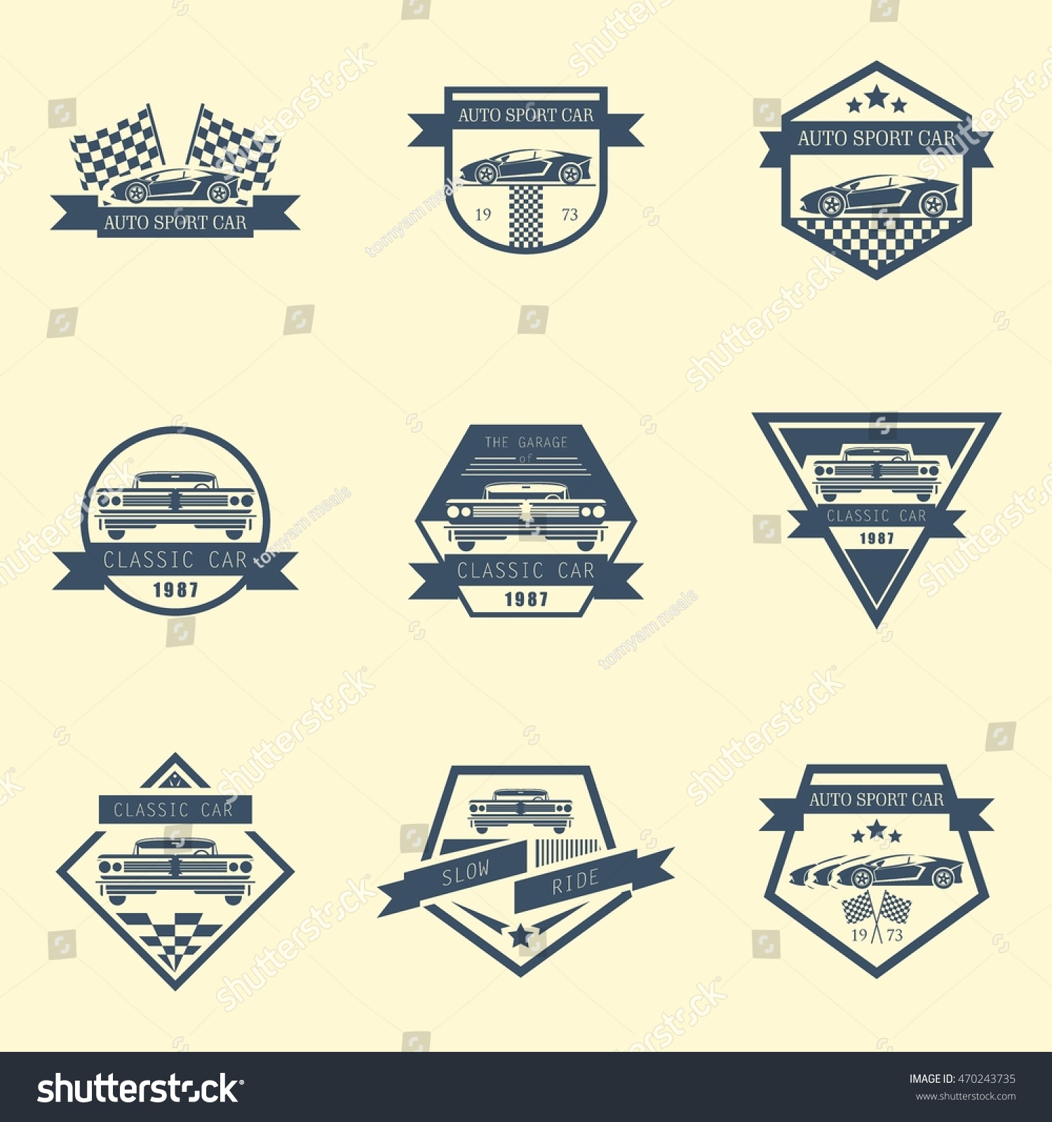 Sets Sports Classic Car Logo Emblems Stock Vector Royalty Free