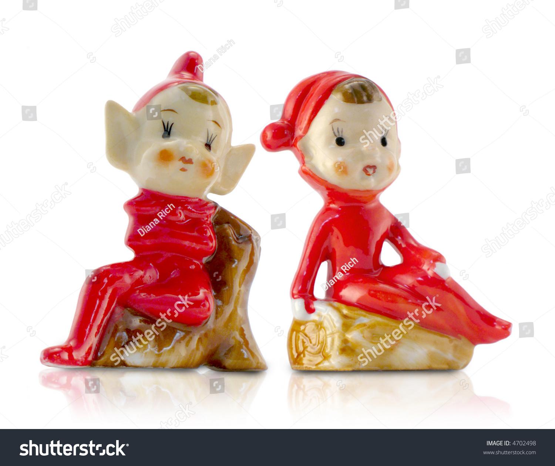 Vintage Christmas Elf Porcelain Figurinesvery Charming Stock Photo ...
