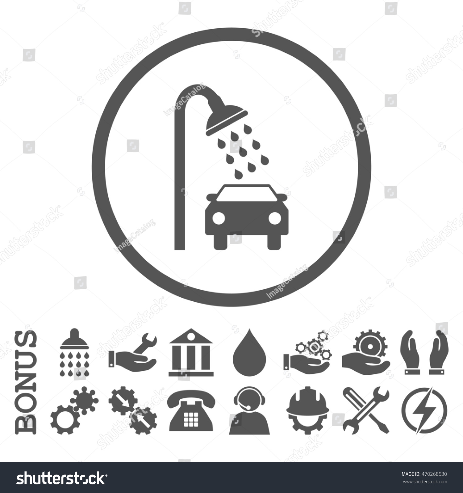 Car Shower Glyph Icon. Image Style Is A Flat Pictogram ...