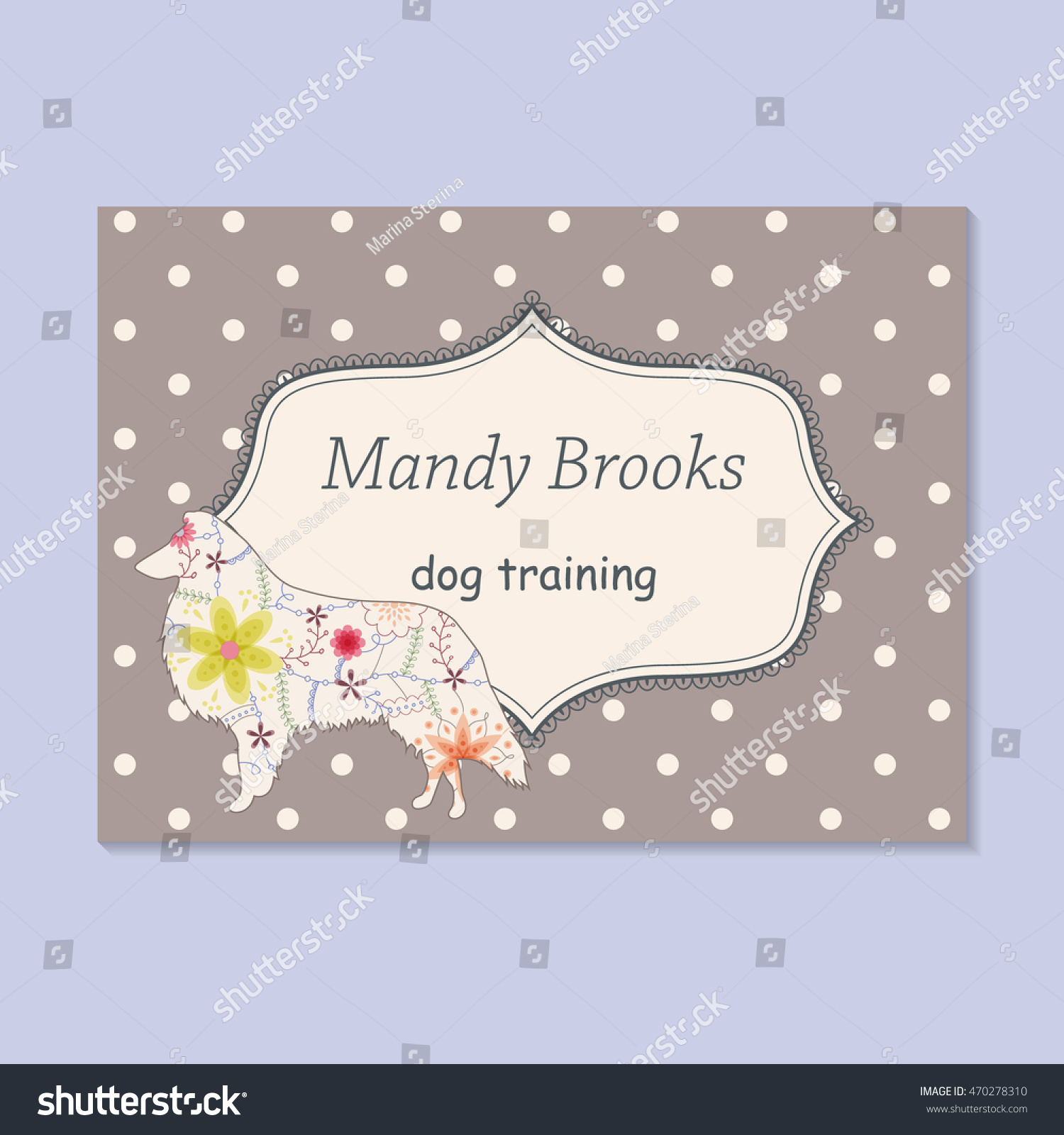 vector vintage business card dog training stock vector
