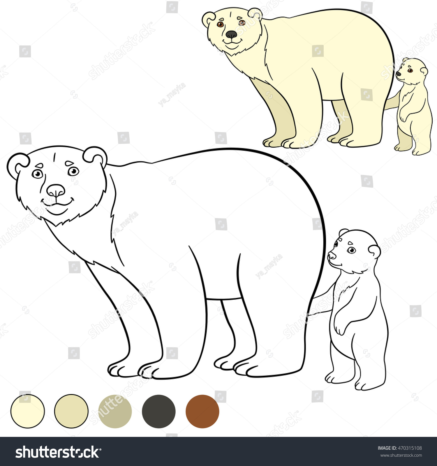Coloring page. Cute polar bear stands and smiles. | EZ Canvas