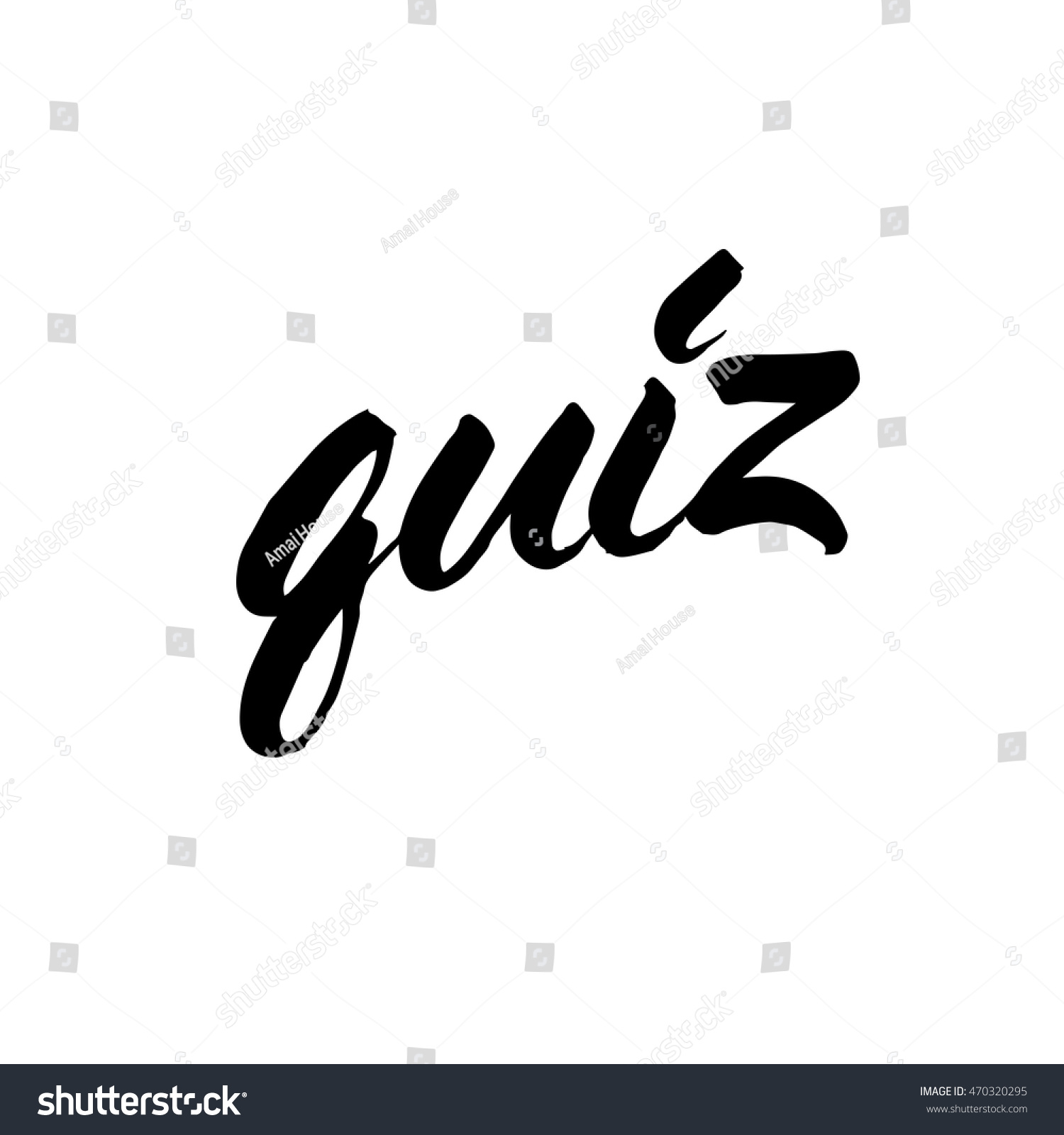 Quiz ink hand lettering modern brush stock vector