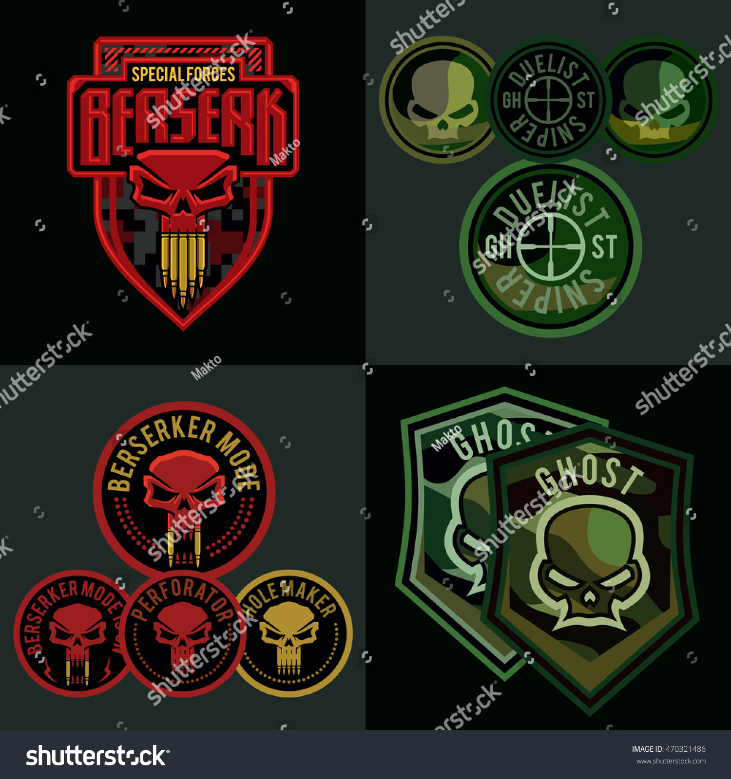 military patch template - special forces military patch set skull stock vector